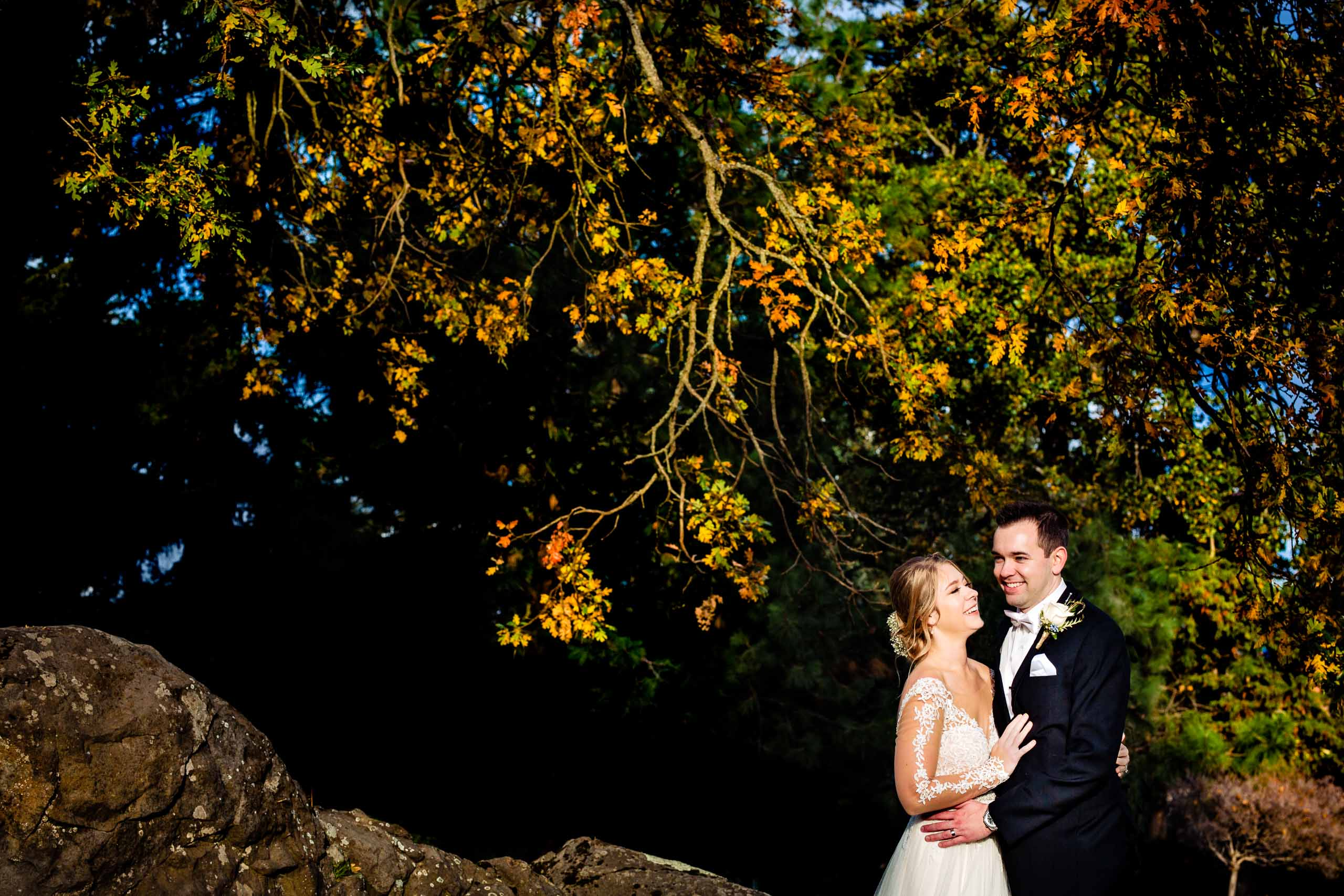 Bride and groom intimate portrait moments just after their Columbia Gorge Hotel wedding ceremony