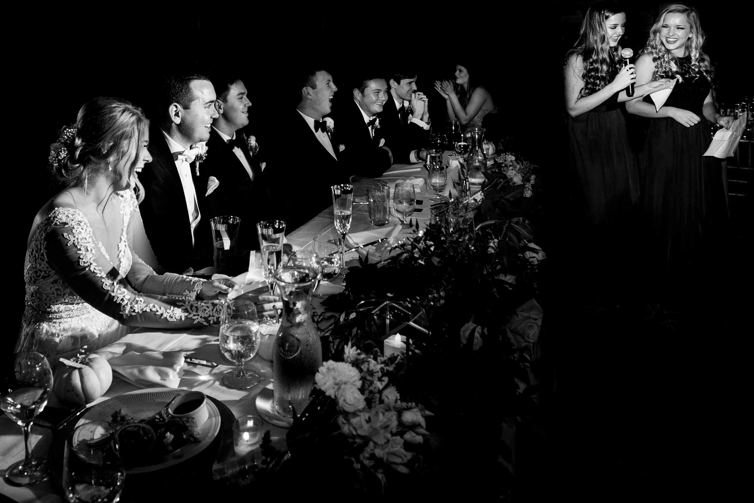 Bride and groom laughing with joy during a speech at their Columbia Gorge Hotel Wedding Reception