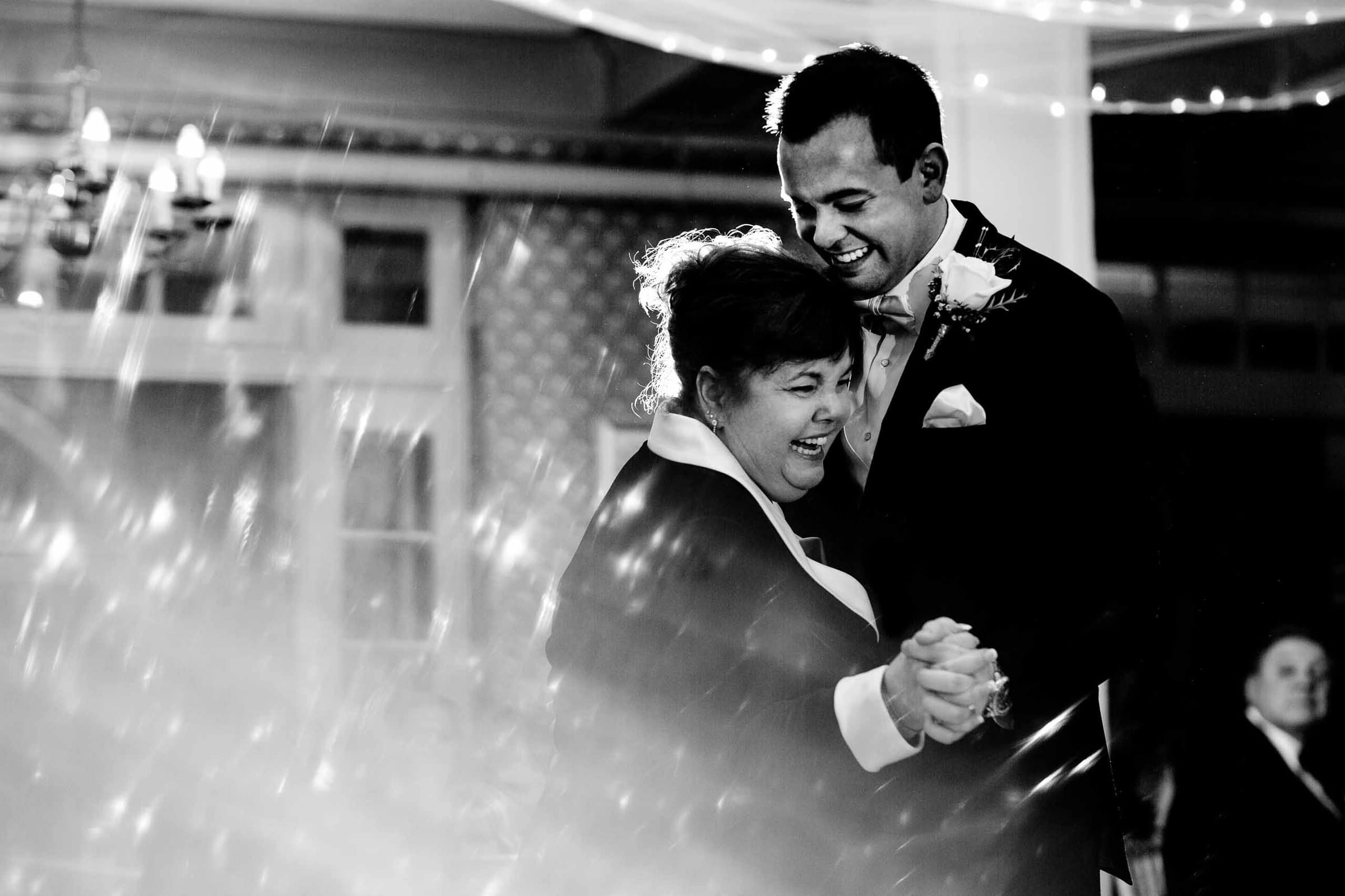 Emotional Groom and mother first dance during a Columbia Gorge Hotel wedding ceremony