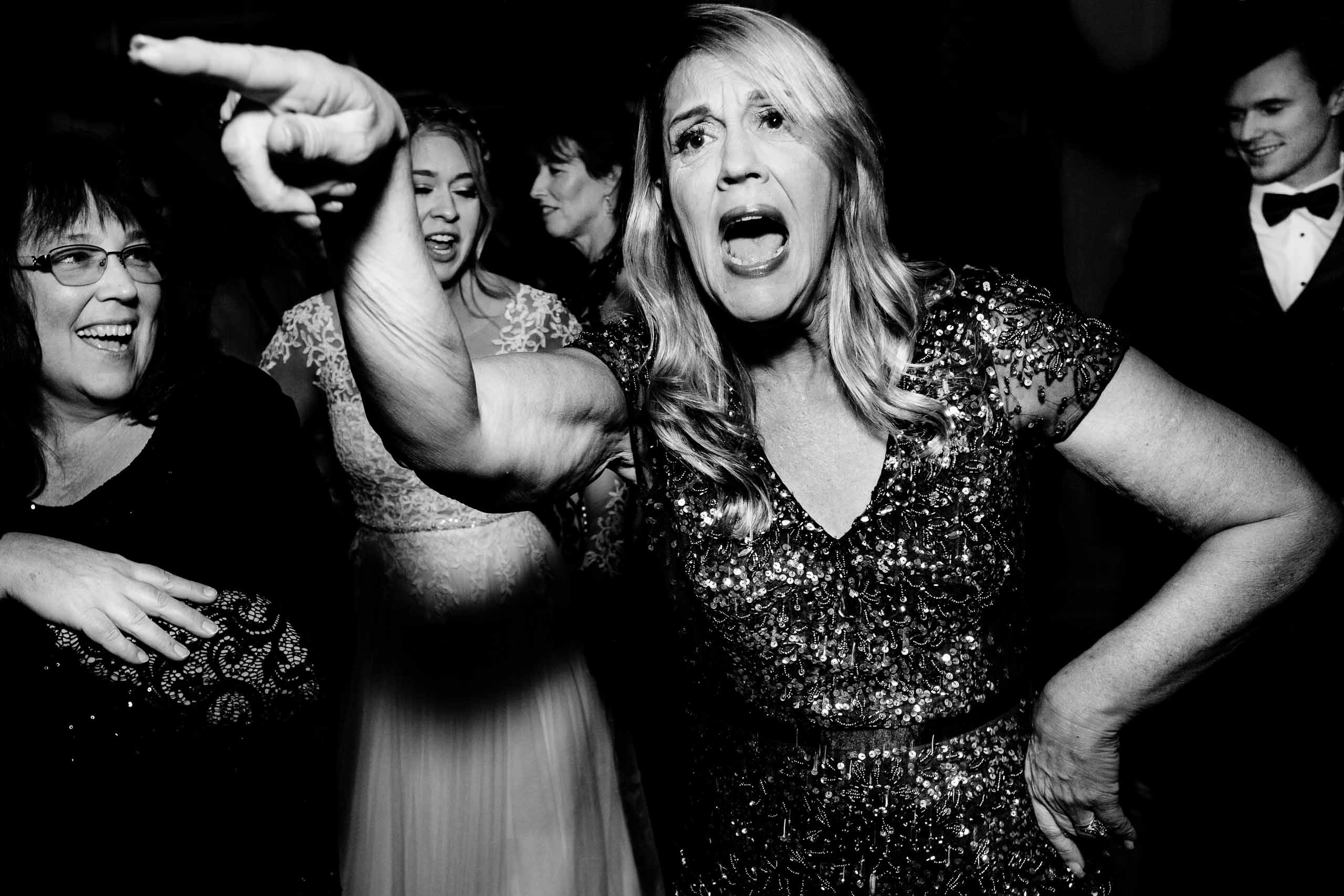 Fun photo of a mom dancing at a Columbia Gorge Hotel wedding reception