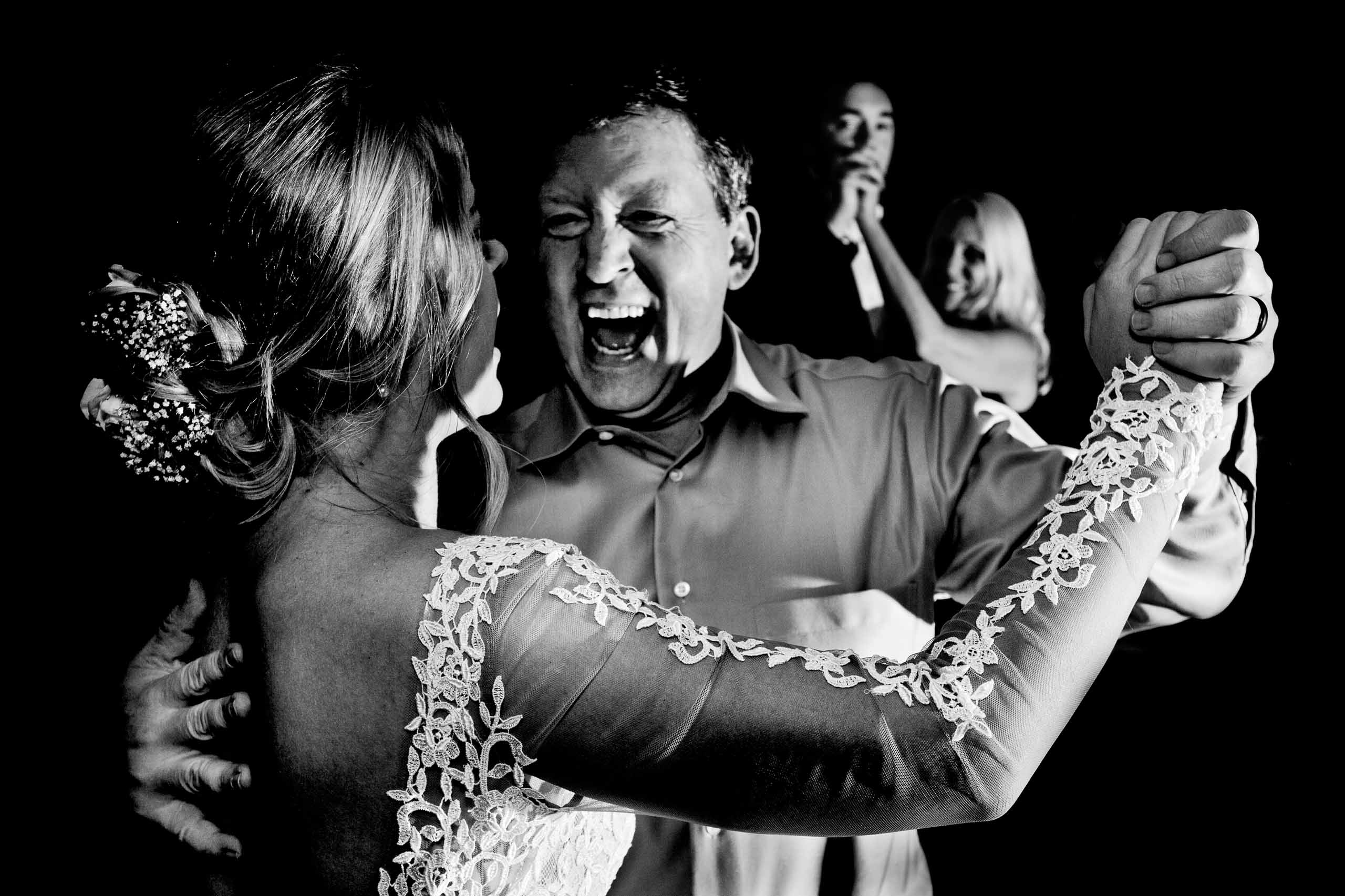 Fun photo of dancing at a Columbia Gorge Hotel wedding reception
