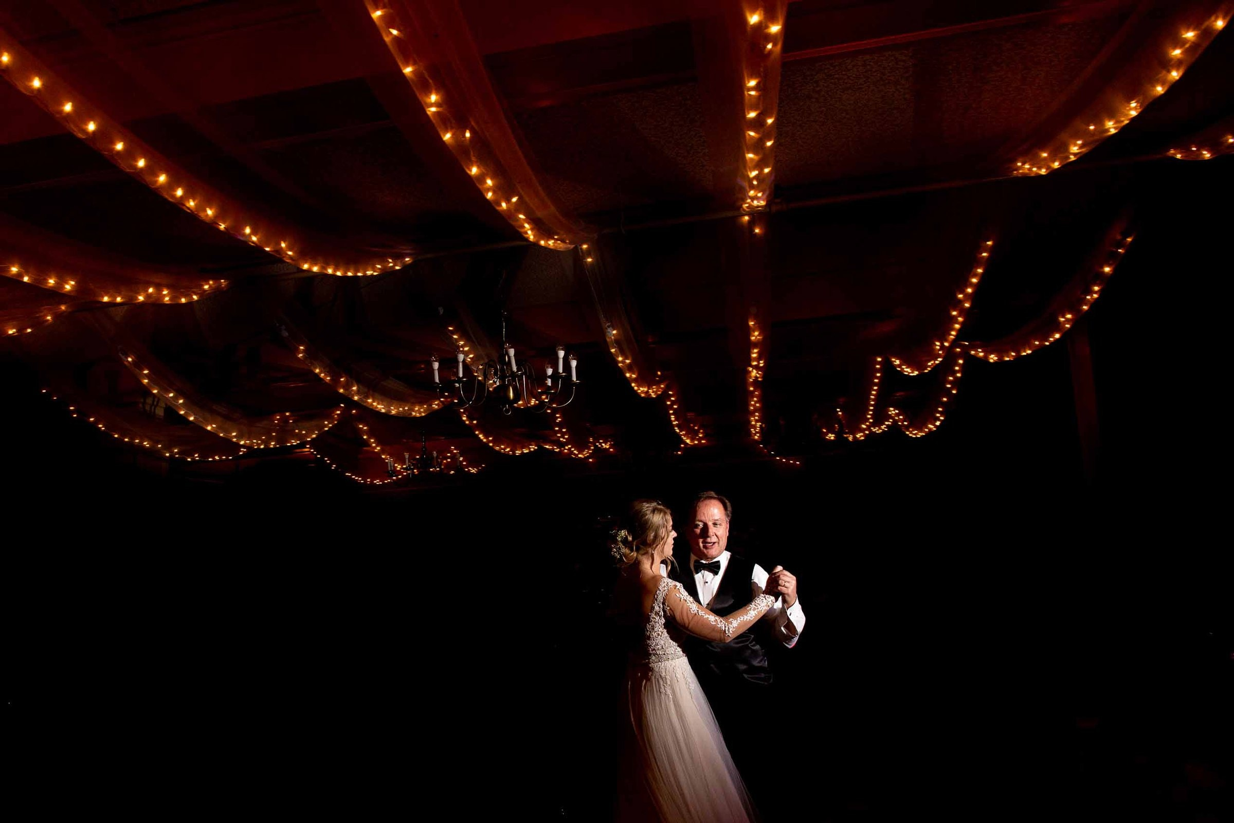 Emotional bride and father first dance during a Columbia Gorge Hotel wedding ceremony