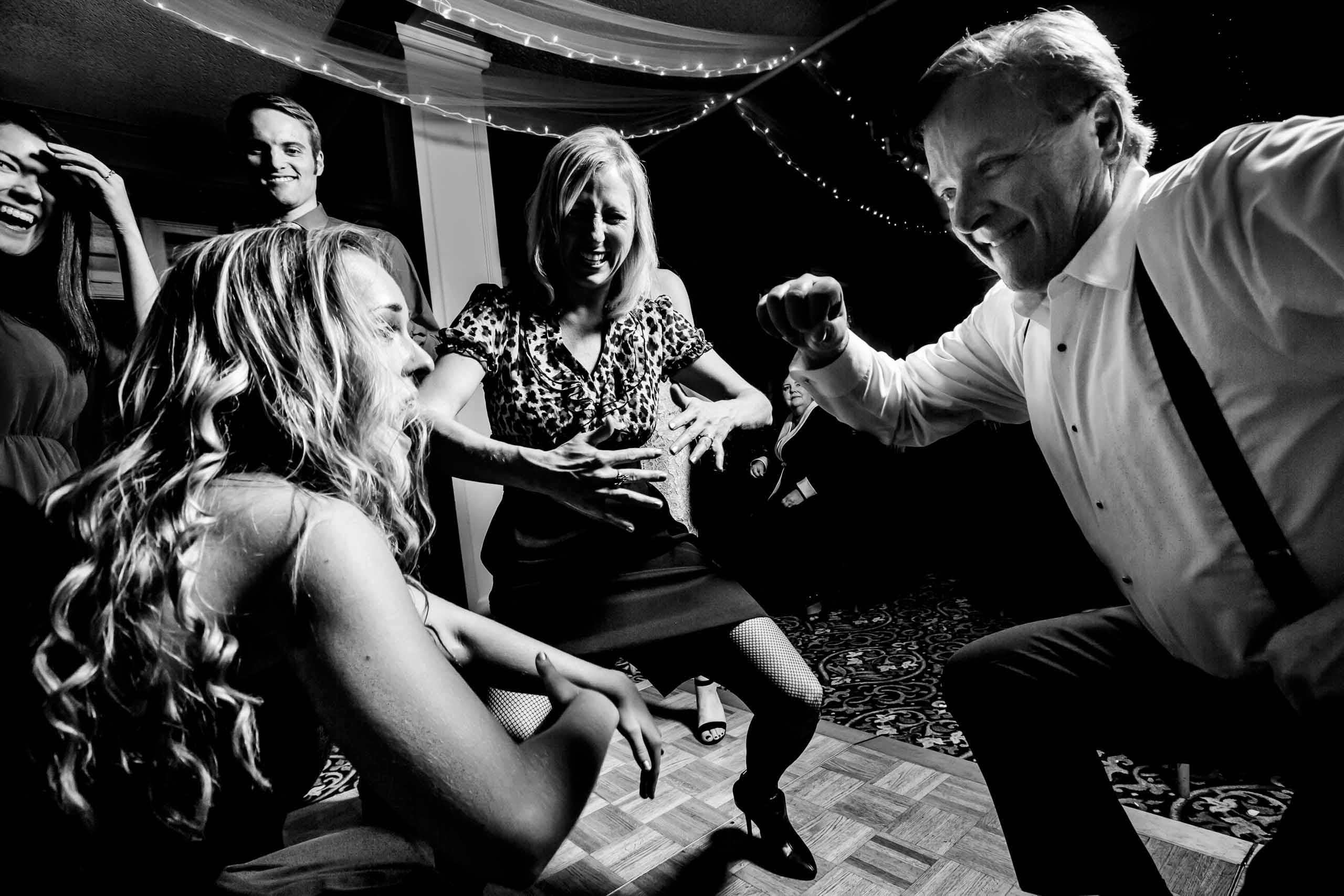 Crazy fun dance photo at a Columbia Gorge Hotel Wedding reception