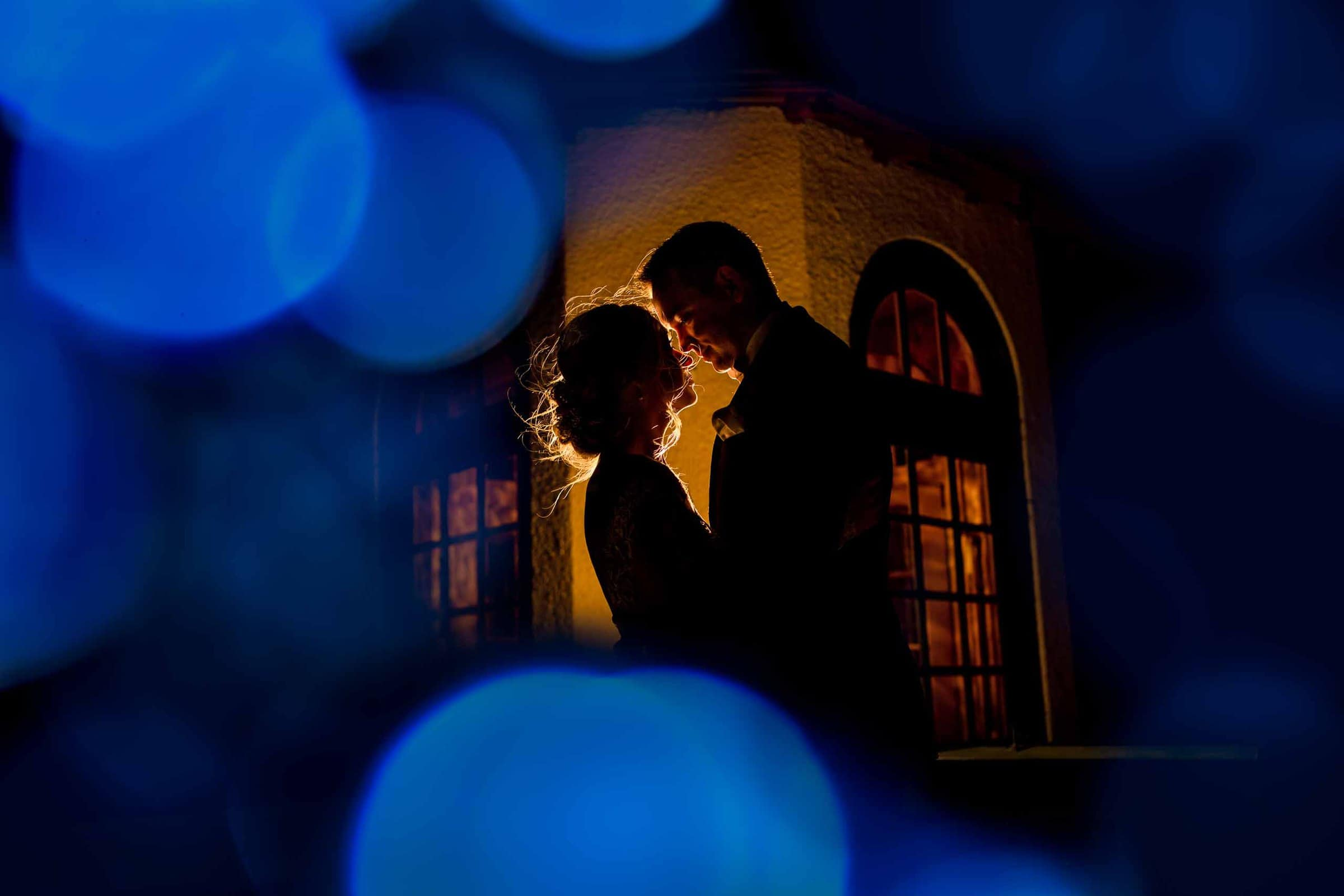 Intimate night photo with great colors for a bride and grooms Columbia Gorge Hotel wedding