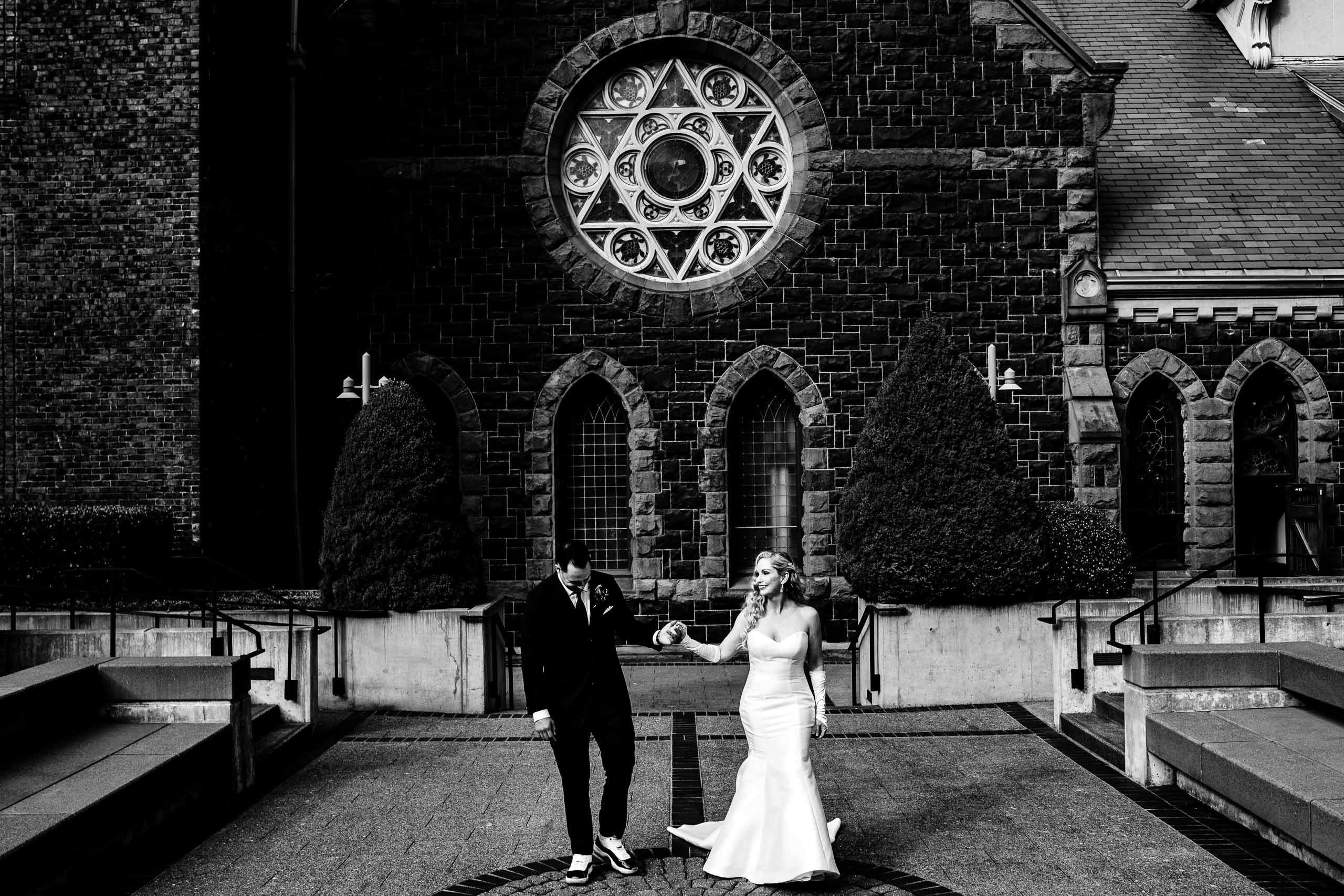 A lovely photo of the bride and groom moments before their First Presbyterian Church Wedding in Portland Oregon