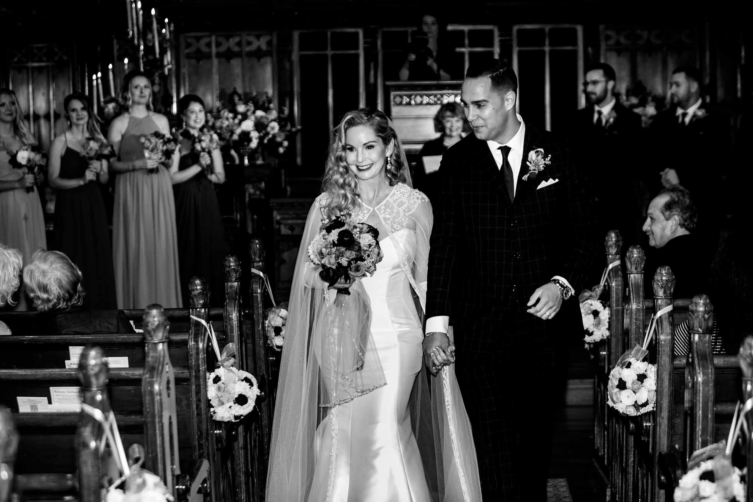 Bride and groom exiting their First Presbyterian Church Wedding ceremony in Portland, Oregon