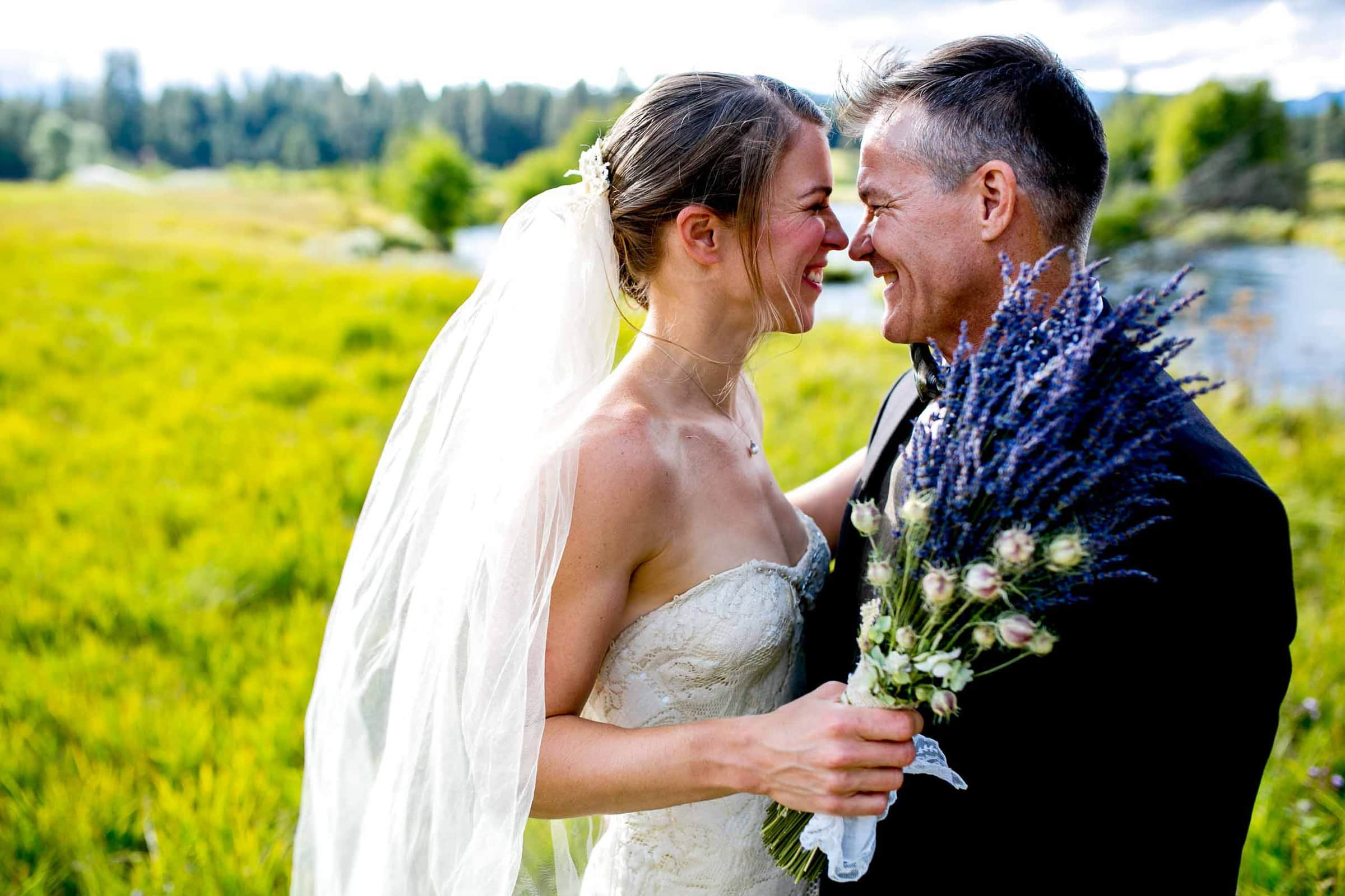 Bride and groom portrait just after their House on Metolius wedding ceremony