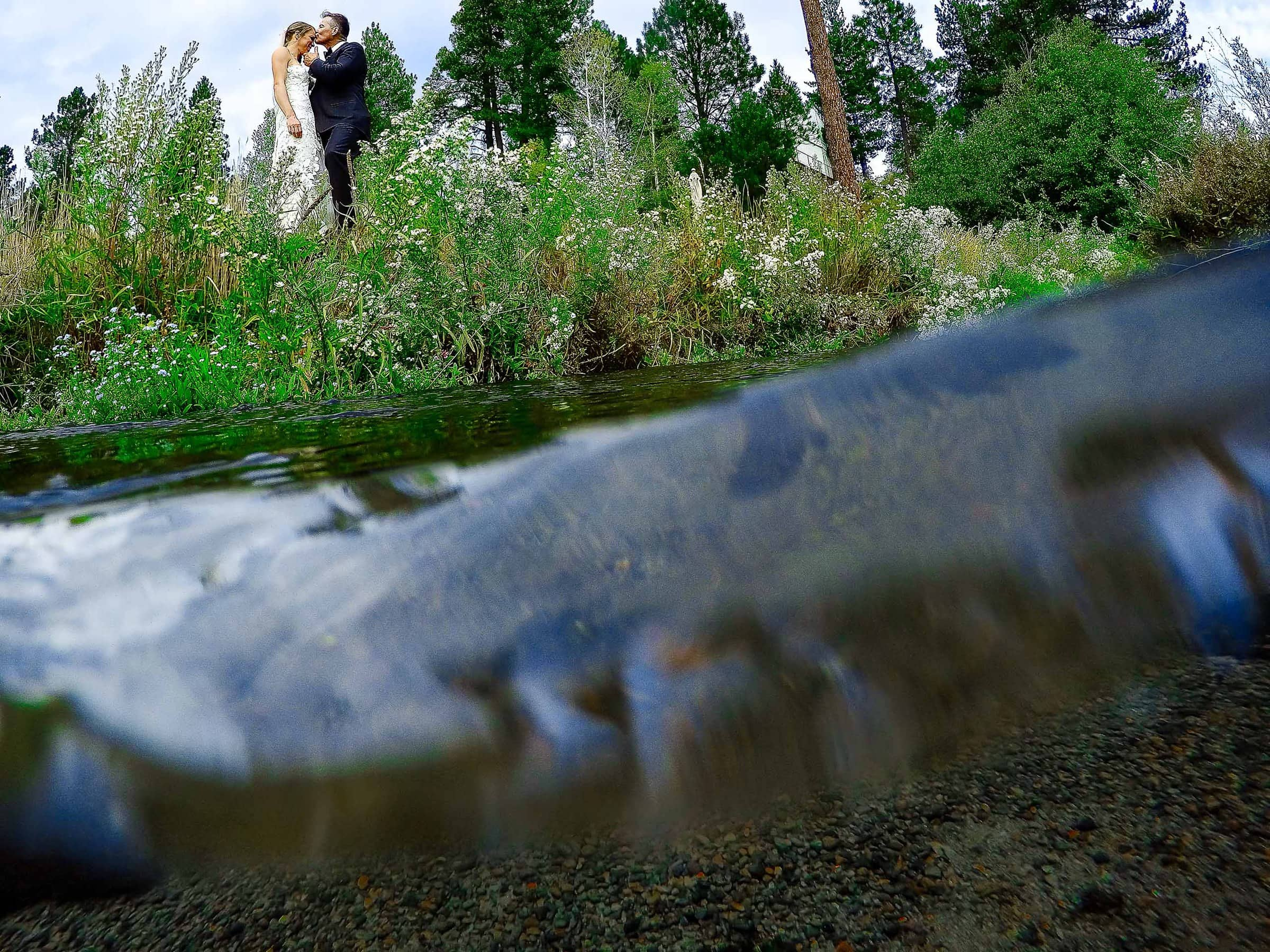 Under and over water photo of bride and groom at their House on Metolius Wedding