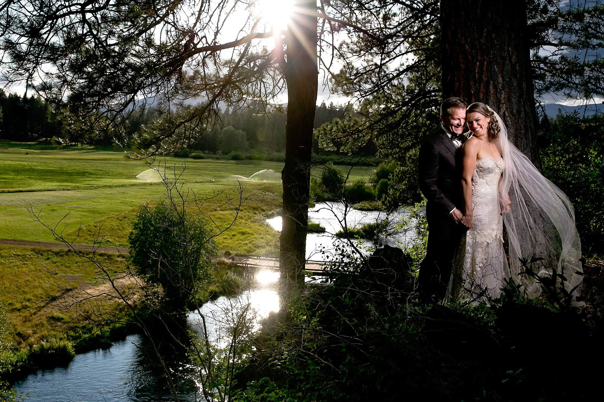 Gorgeous sunset photo of bride and groom during their House on Metolius wedding