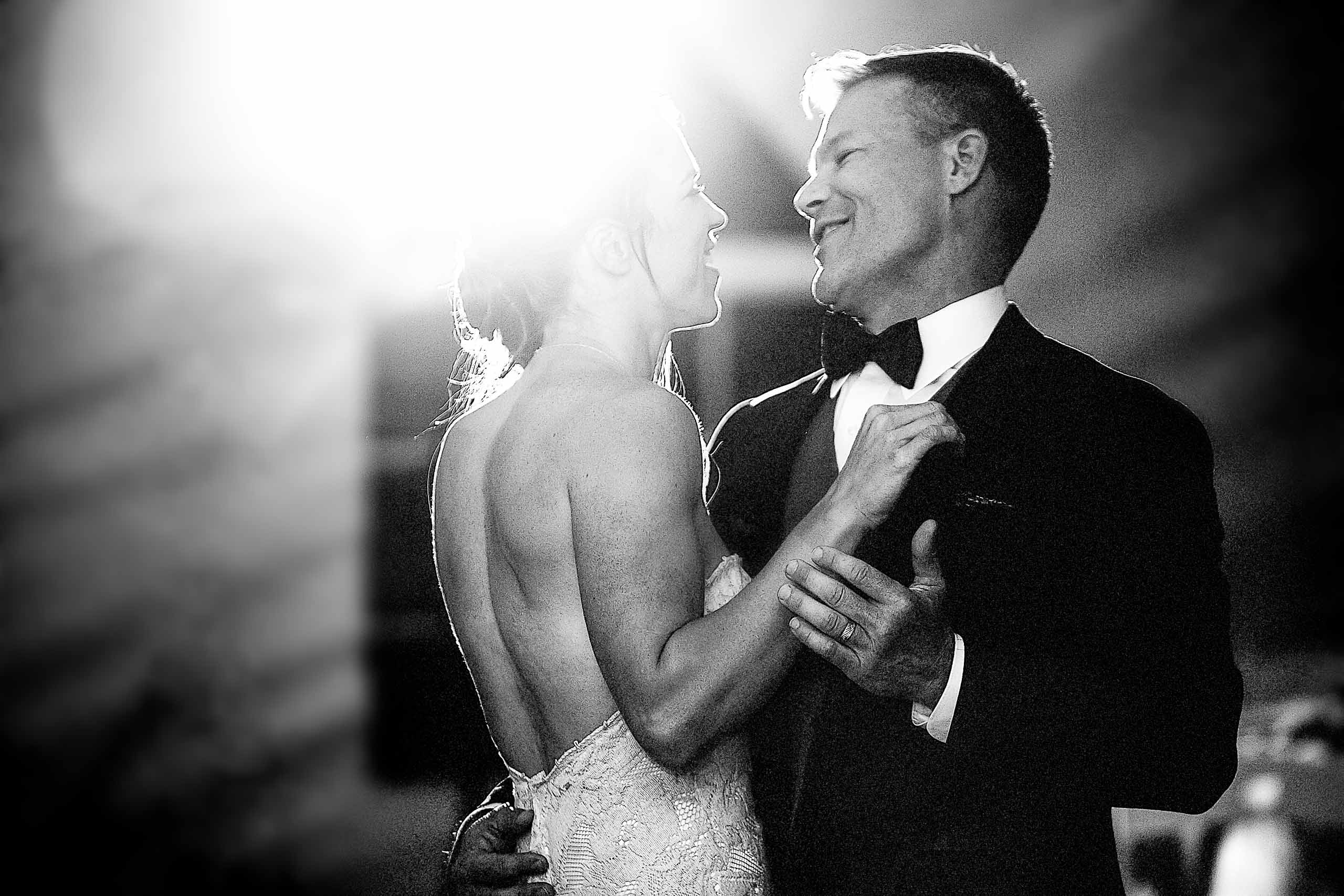 Bride and groom first dance during their House on Metolius wedding reception
