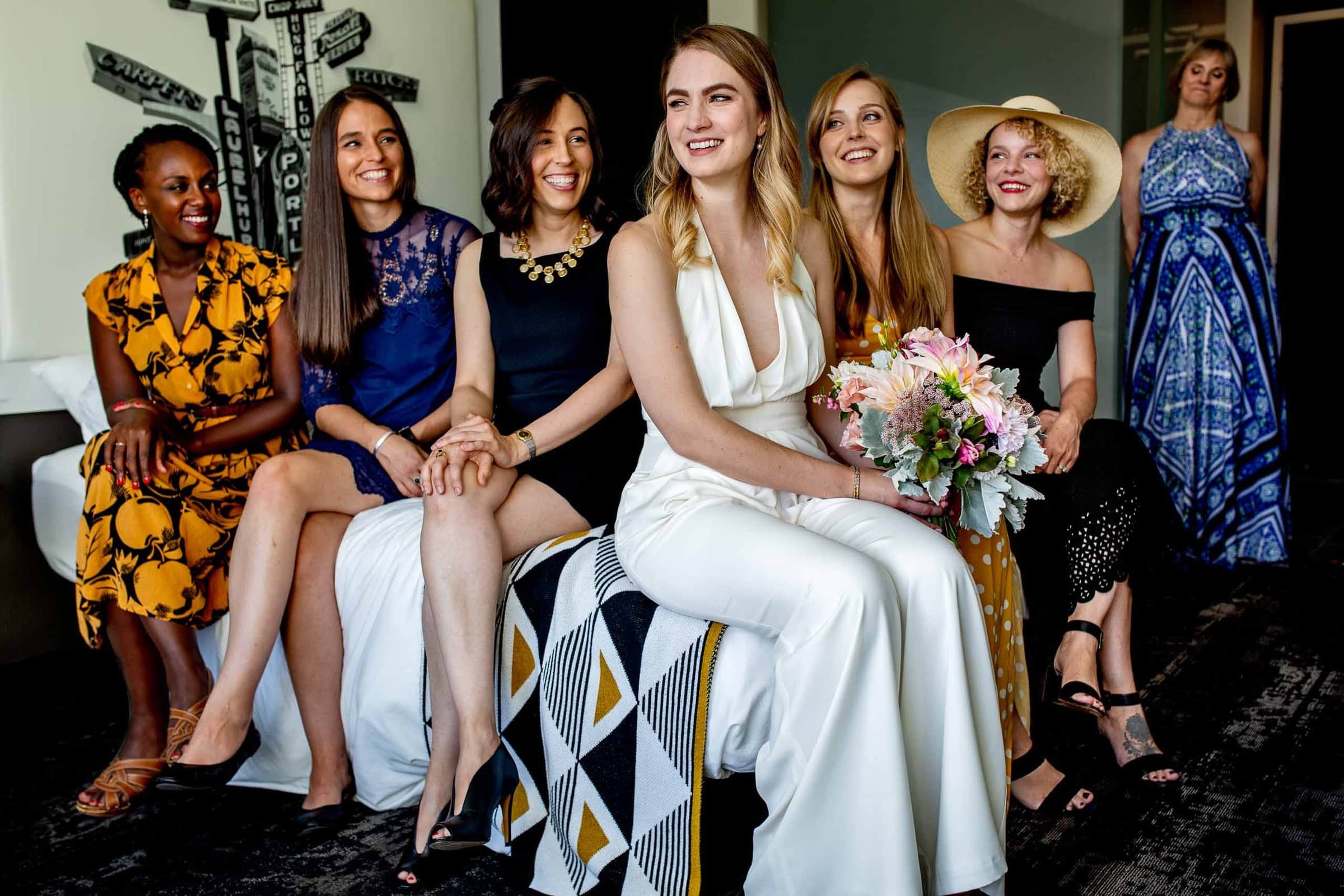 Bride with girlfriends and mother getting ready for a Jupiter Next wedding