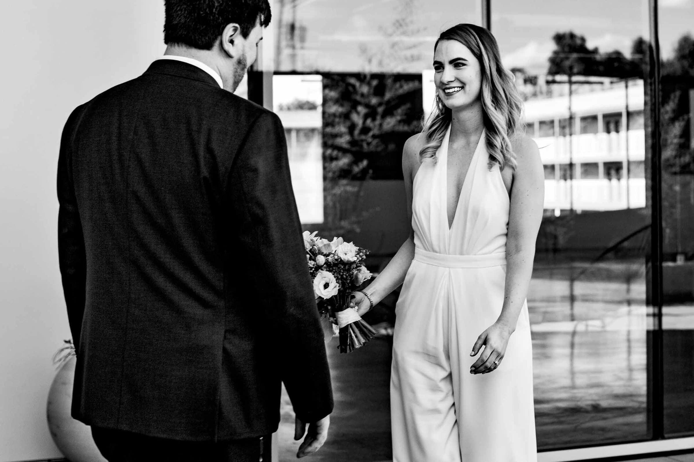 Bride seeing her groom a Jupiter Next wedding