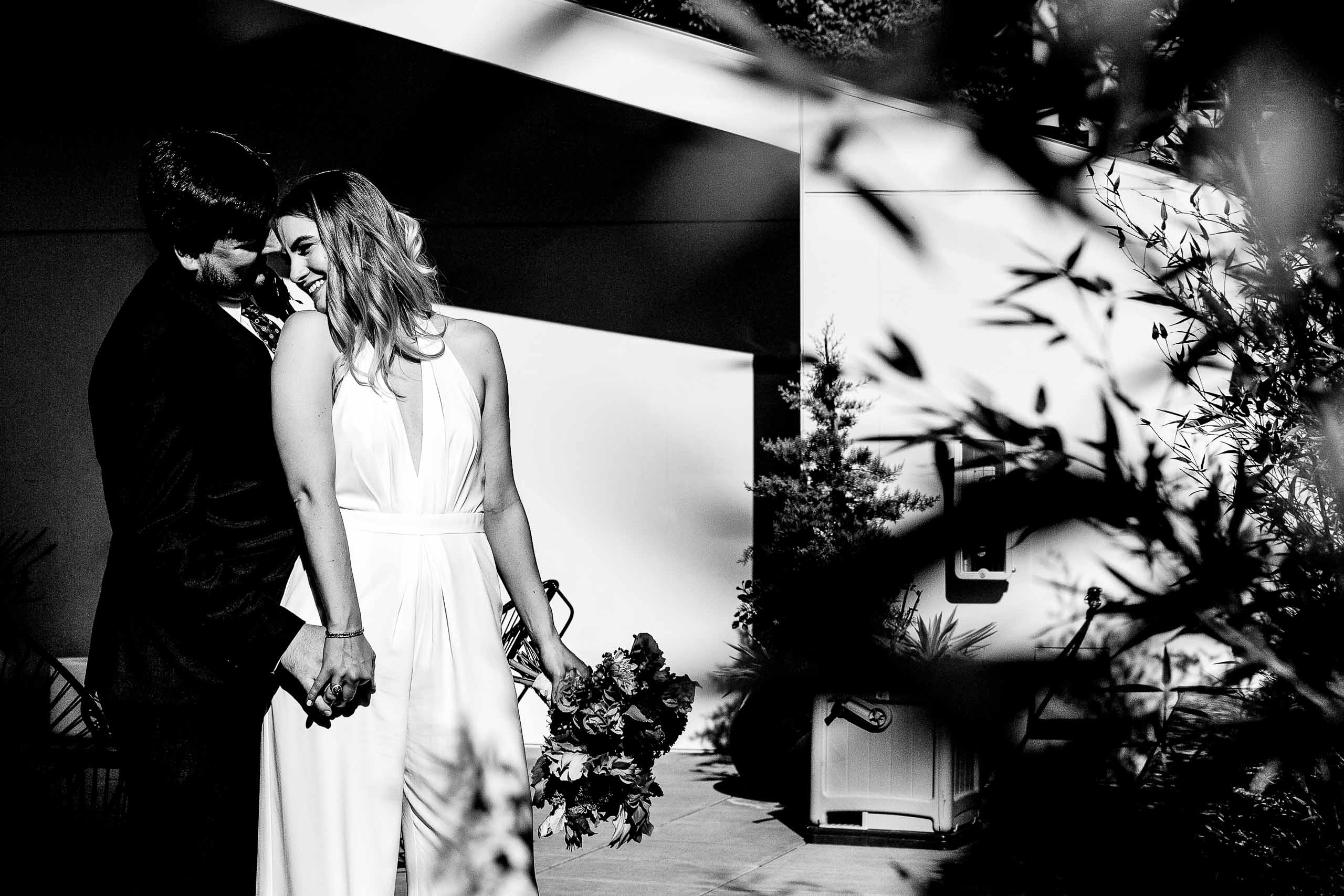 Nice black and white portrait of a bride and groom moments before their Jupiter Next wedding