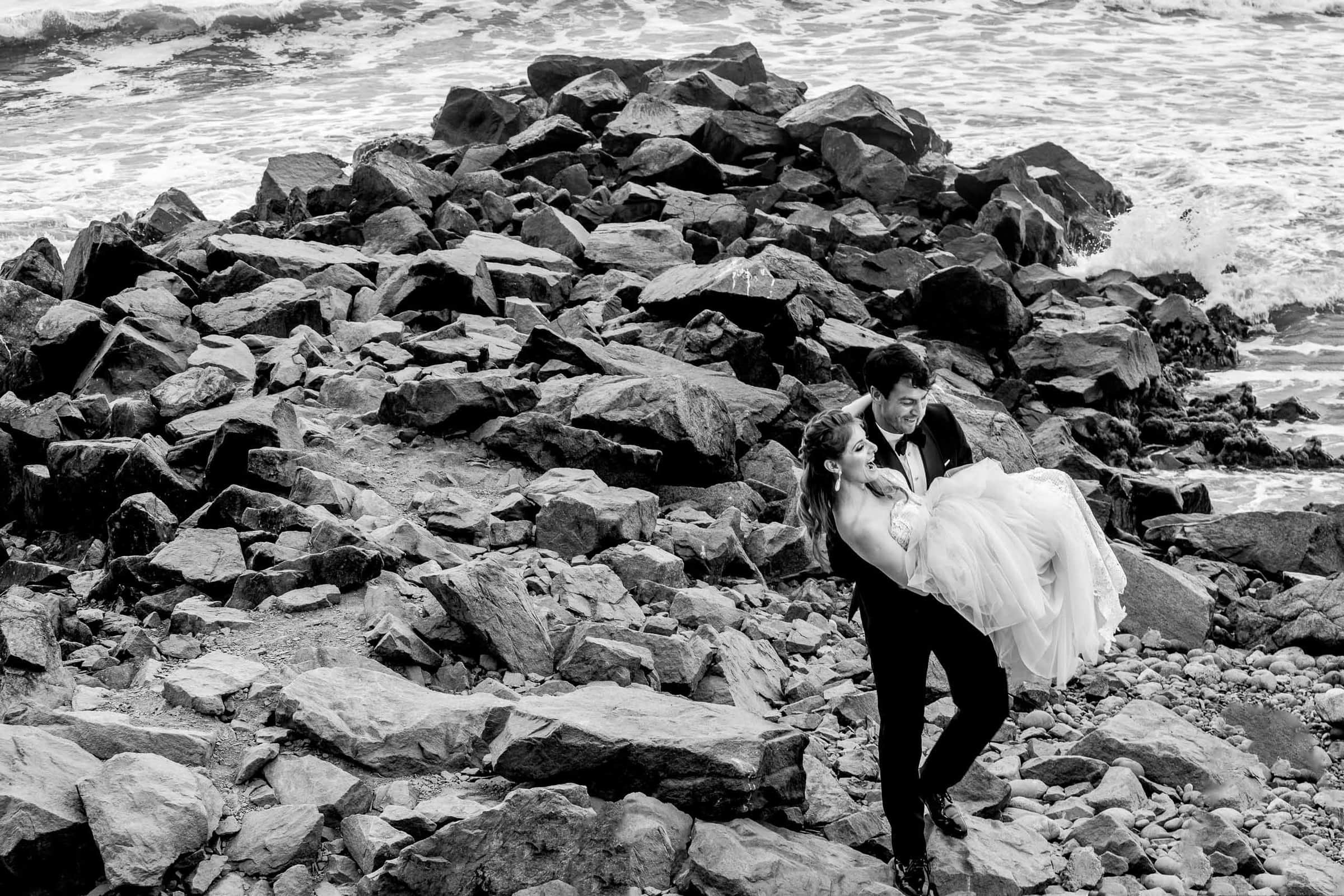 Bride and groom on the beach for their Lima Peru Wedding
