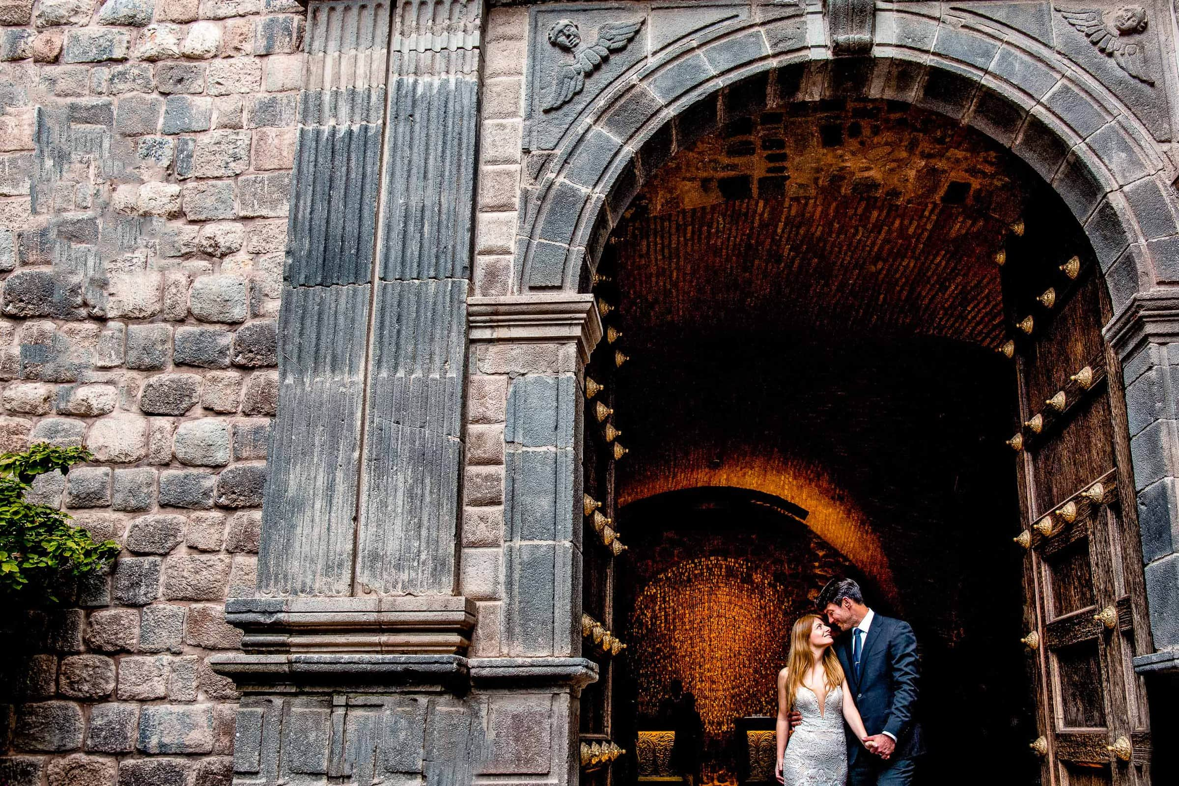 Bride and groom portrait in Cusco during their Lima Peru Wedding