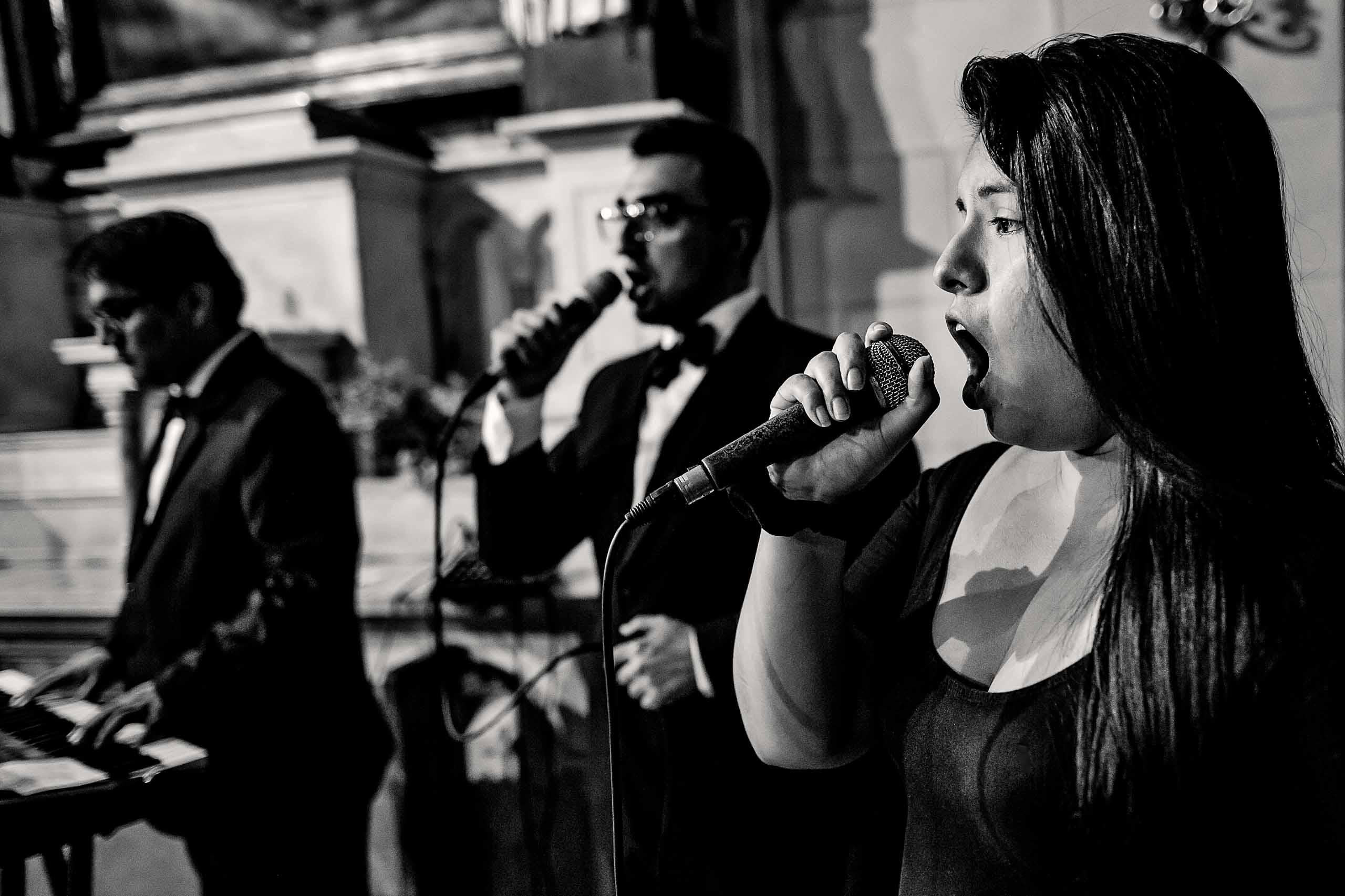 Singer singing during wedding ceremony