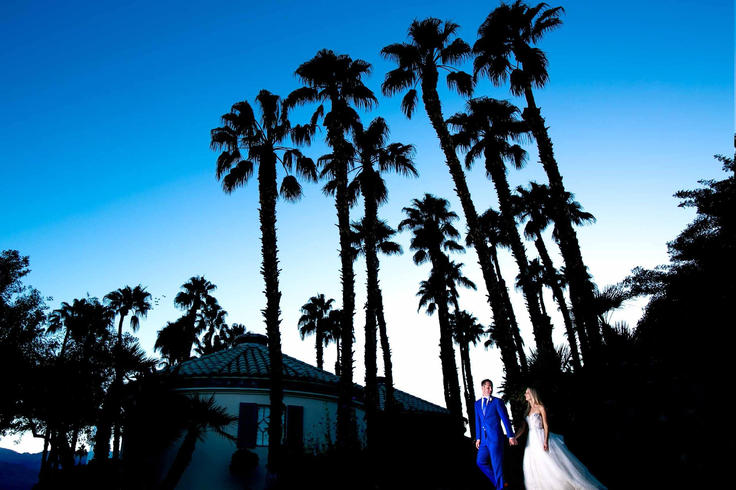 Gorgeous wide angle view of a Merv Griffin Estate Wedding couple in Palm Springs