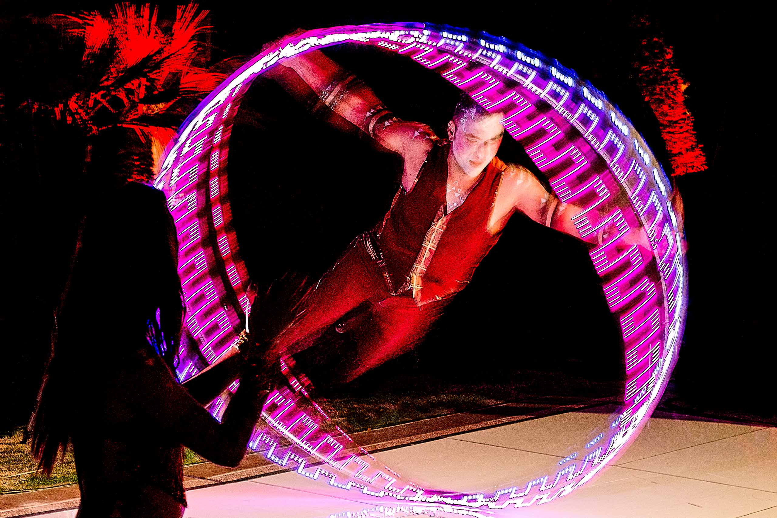 Circus performers at a Merv Griffin Estate wedding in Palm Springs
