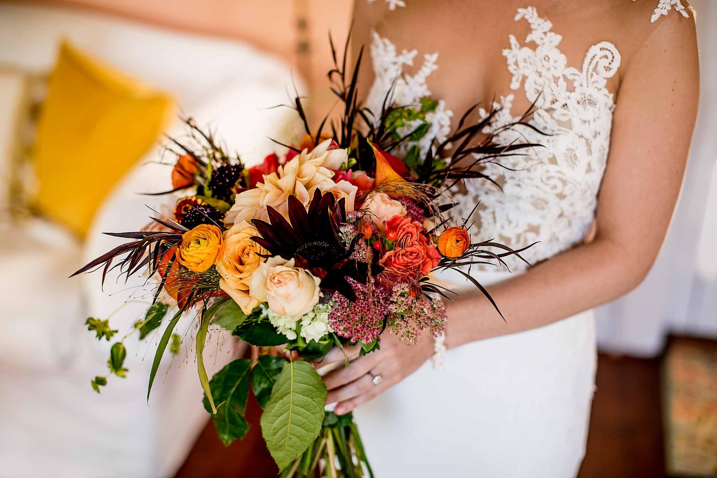 Gorgeous bouquet with a beautiful bride getting ready for her Mt Hood Organic Farms wedding near Hood River Oregon