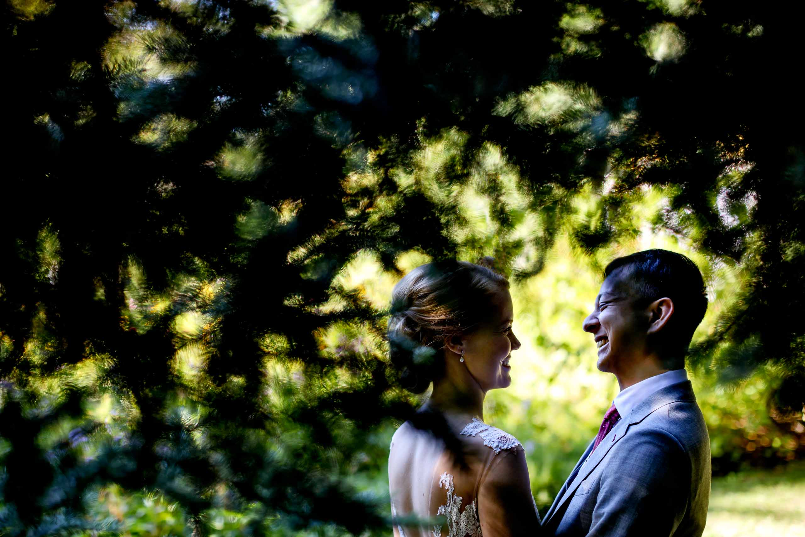 Bride and groom seeing each other before their Mt Hood Organic Farms wedding near Hood River Oregon