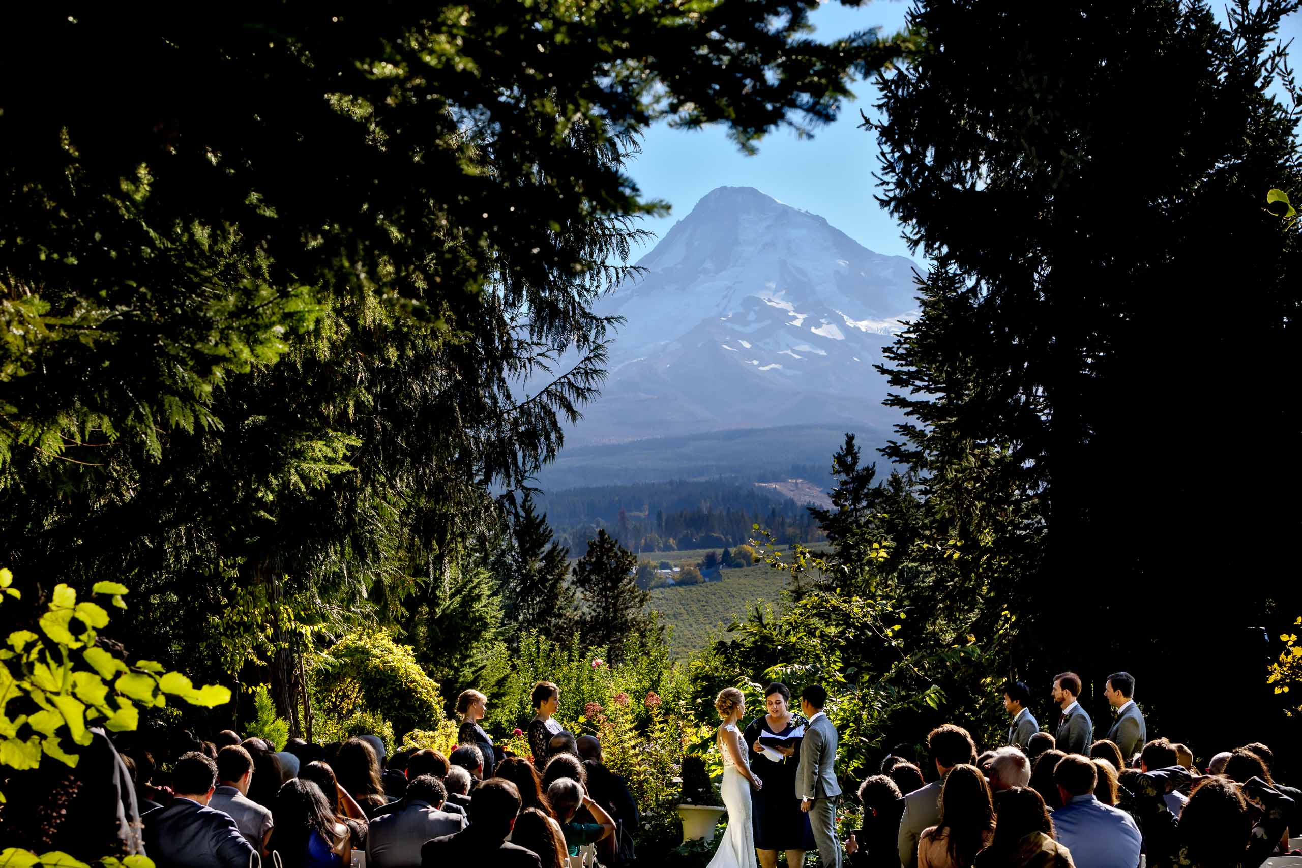 Wide angle photo of a bride and groom during a Mt Hood Organic Farms wedding ceremony near Hood River Oregon