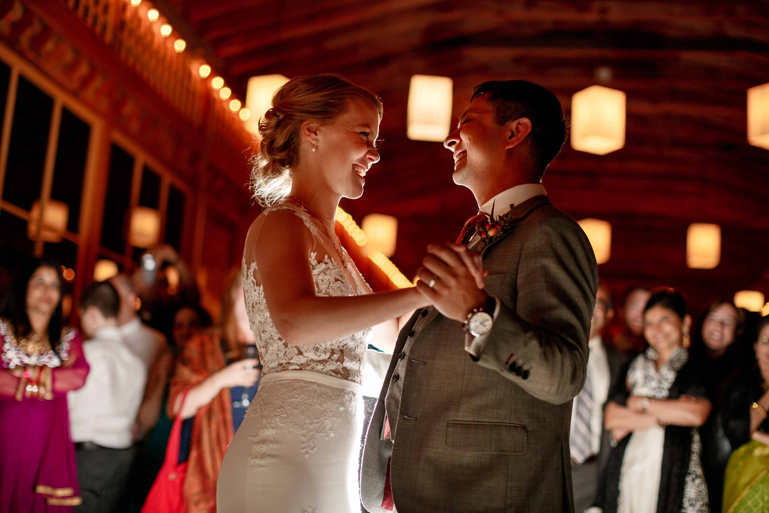 Bride and groom first dance during their Mt Hood Organic Farms wedding reception near Hood River Oregon