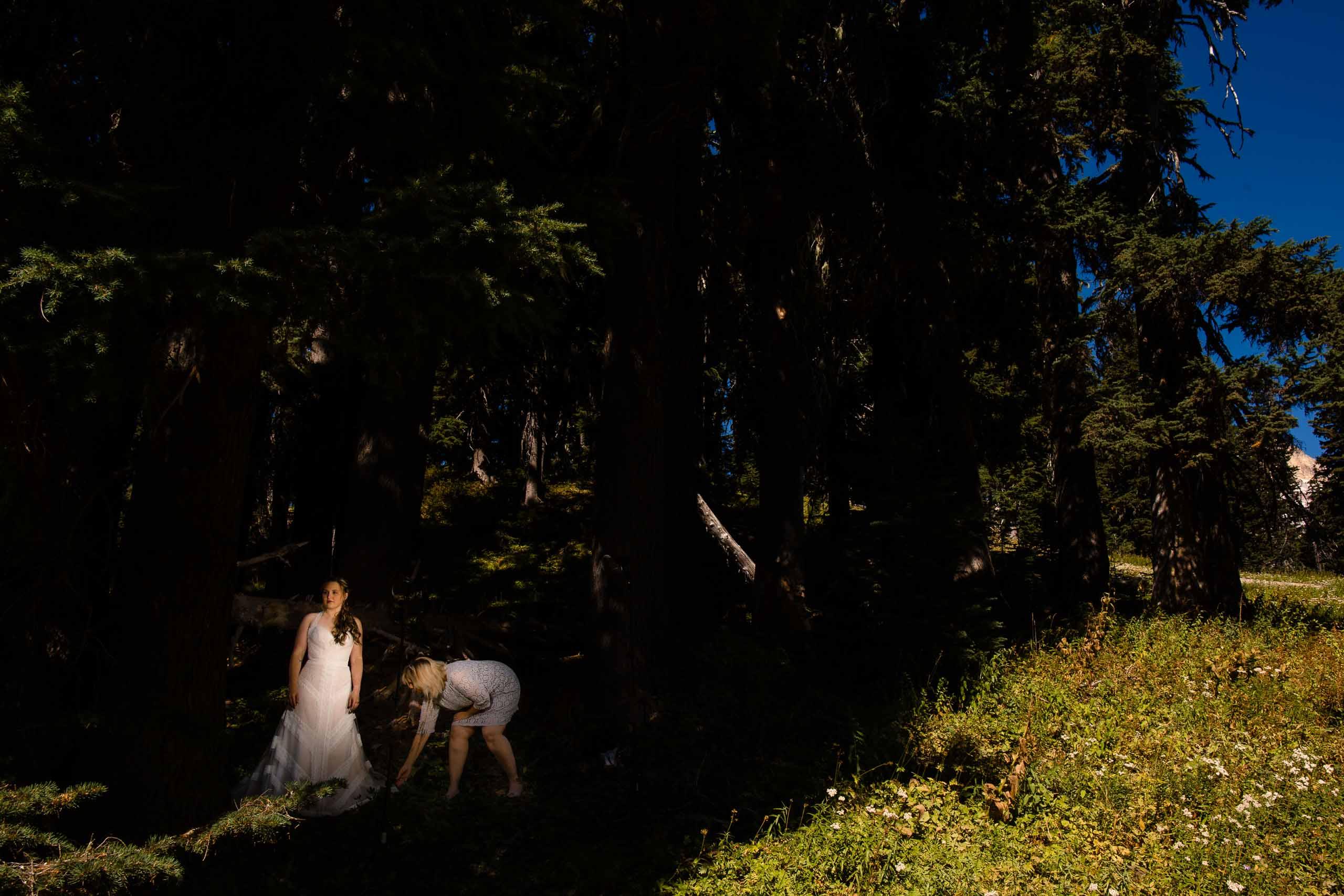 Bride getting ready for her Mt Hood Meadows wedding at Umbrella Falls