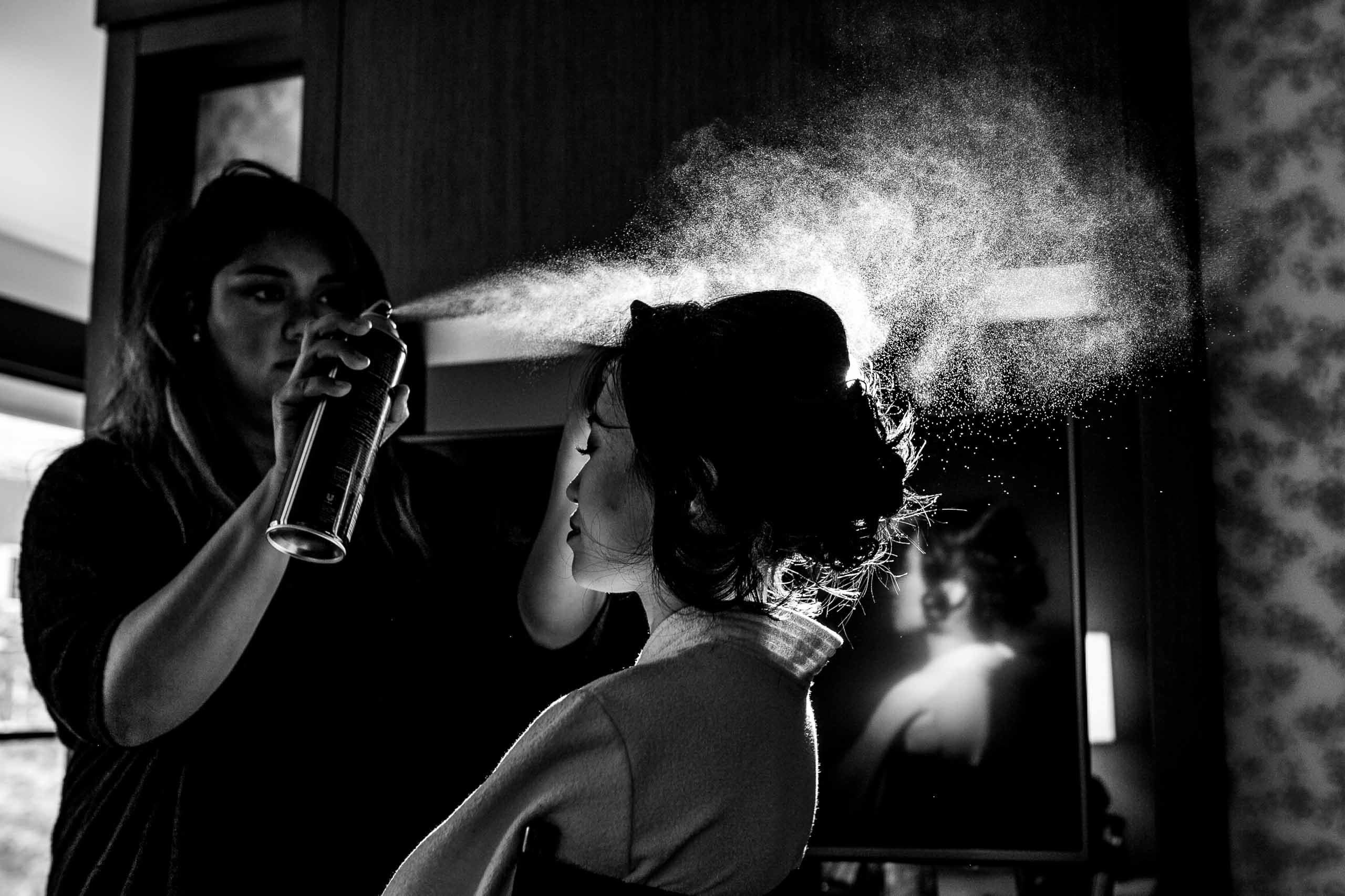 Bride getting ready for a Saltys Wedding in Seattle