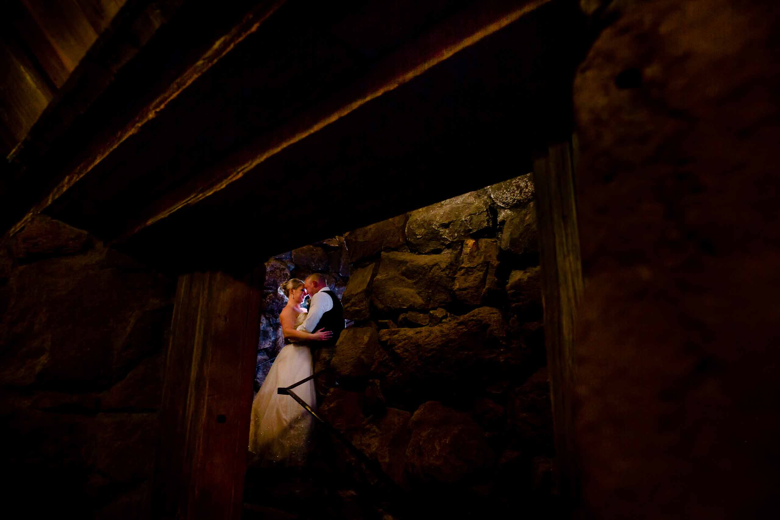 Intimate photo of bride and groom just after their Silcox Hut Wedding ceremony above Timberline Lodge on Mt Hood