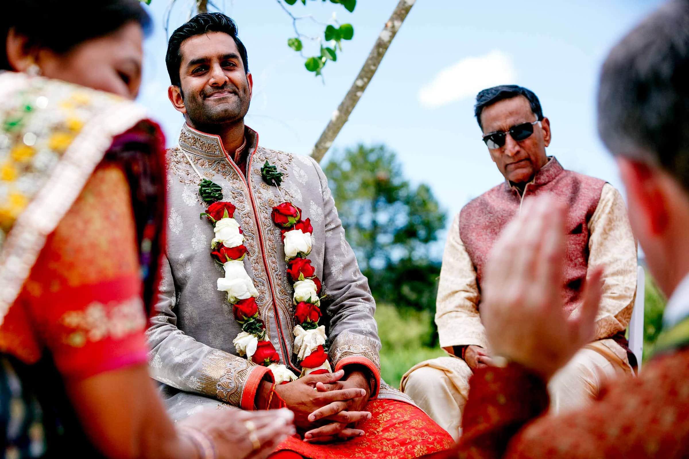 Emotional Indian groom during his Sunriver Resort wedding in Bend Oregon in Central Oregon.