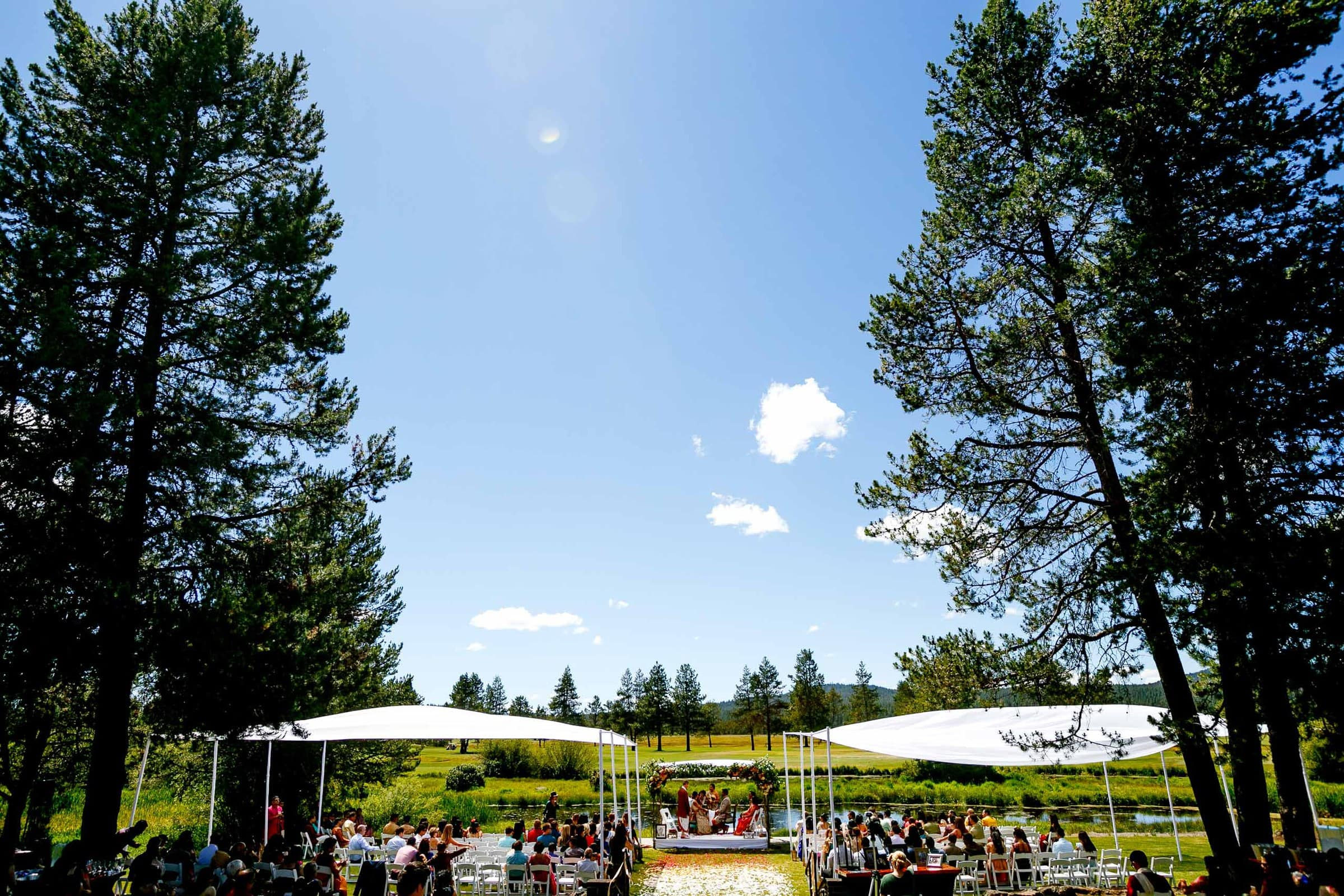 Wide angle photo during an Indian Sunriver Resort wedding in Bend Oregon in Central Oregon.