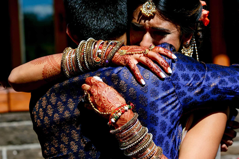 Emotional photo of bride during an Indian Sunriver Resort wedding in Bend Oregon in Central Oregon.