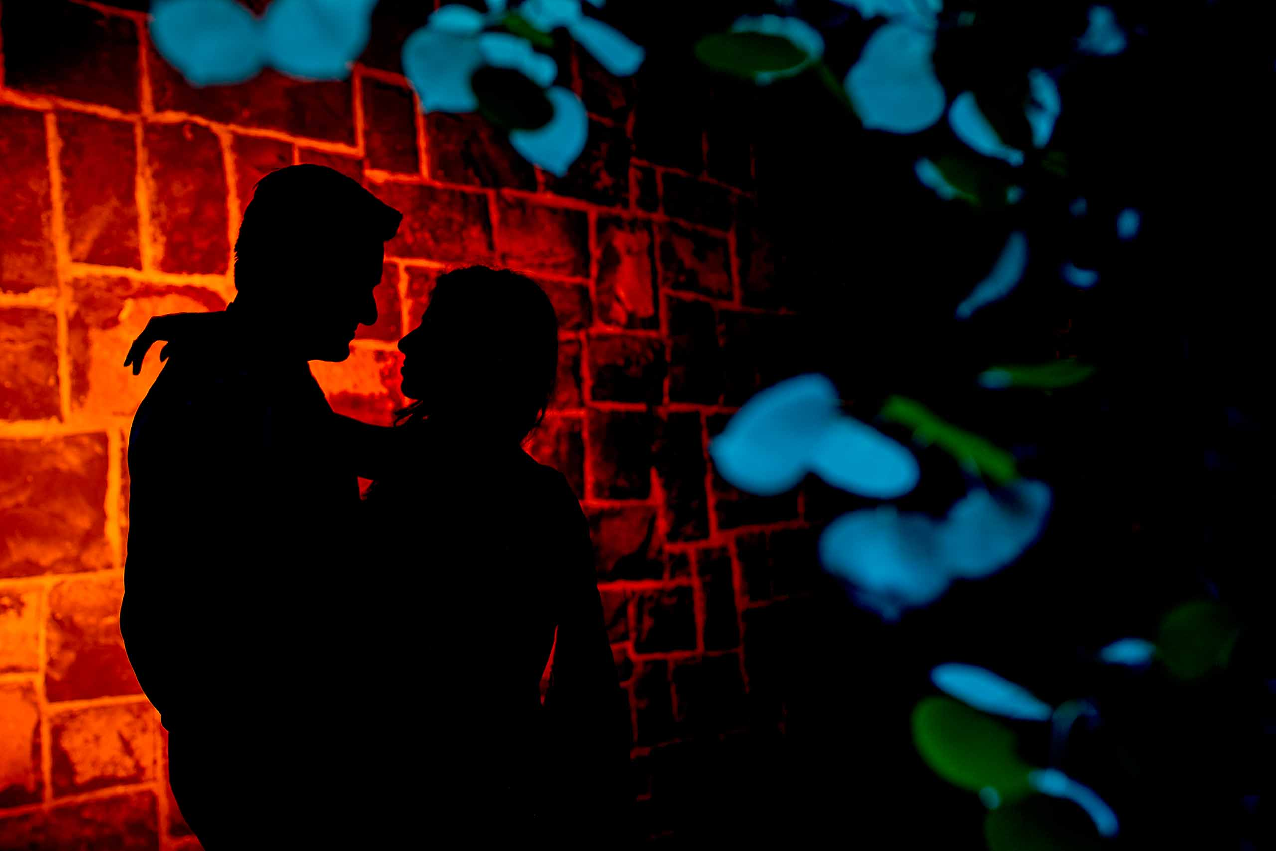 Creative night photo of bride and groom during an Indian Sunriver Resort wedding in Bend Oregon in Central Oregon.