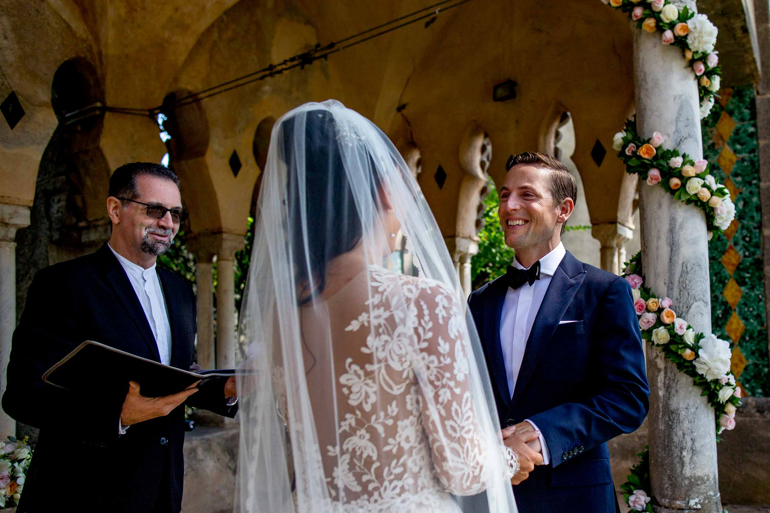 Happy groom smiling during a Ravello elopement ceremony at Villa Cimbrone in Amalfi Italy