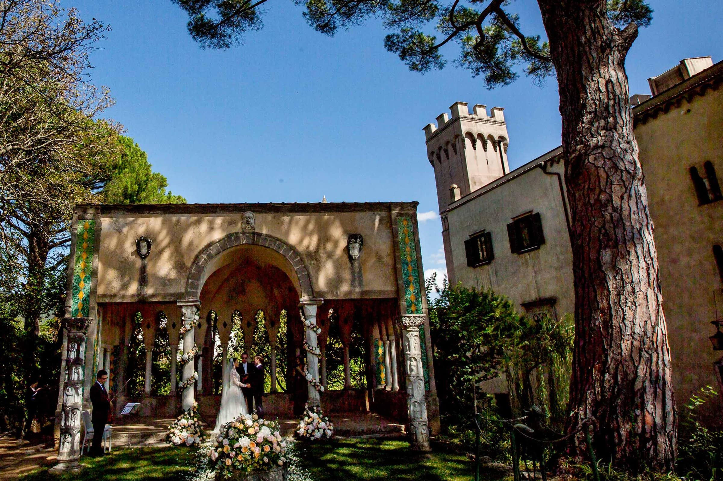 Gorgeous ceremony in Ravello elopement at Villa Cimbrone along the Amafi coast in  Italy.