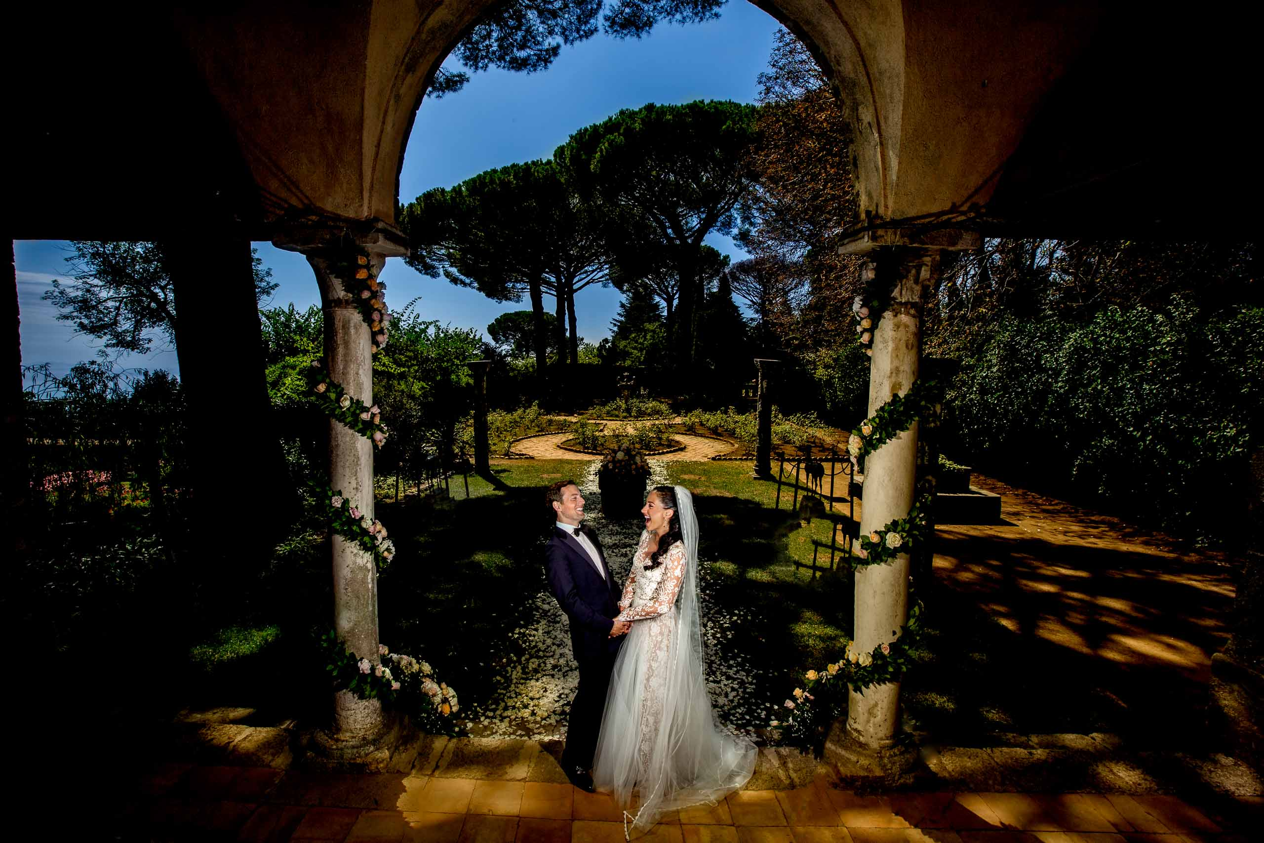 Gorgeous bride and groom portrait at Villa Cimbrone for their Ravello elopement along the Amafi coast in  Italy.