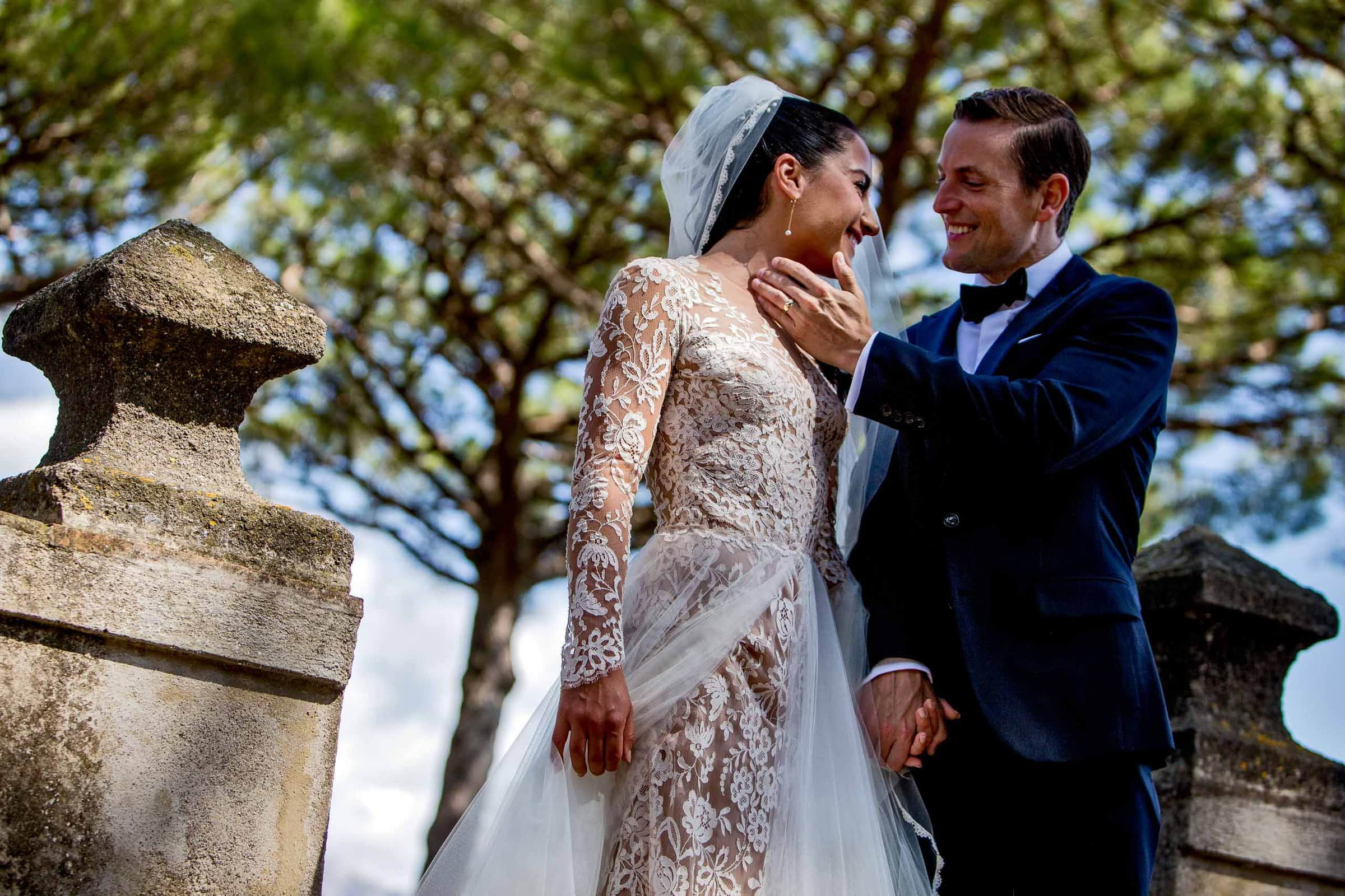 Gorgeous bride and groom portrait at Villa Cimbrone garden just after their ceremony for their Ravello elopement along the Amafi Coast in Italy
