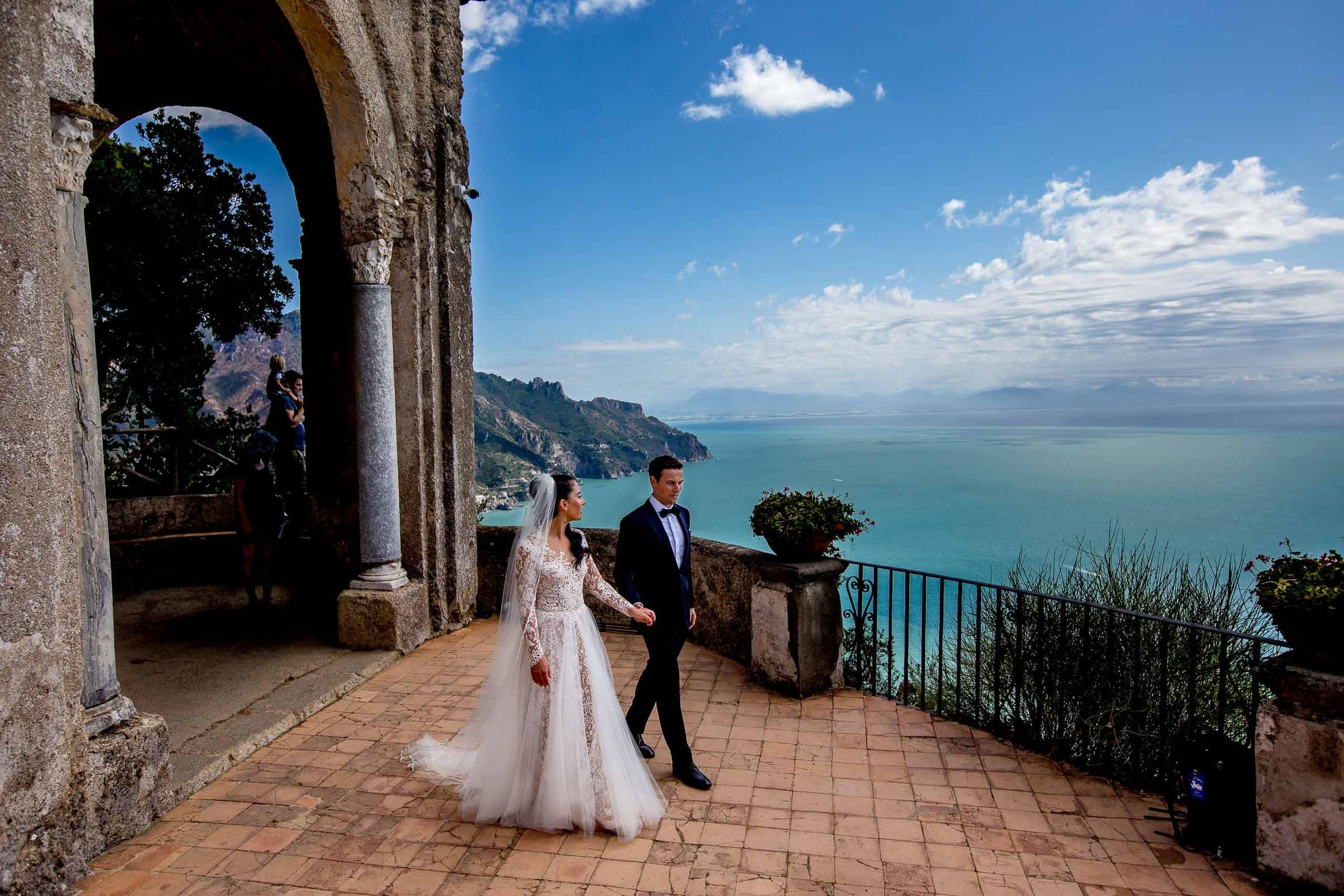 Gorgeous bride and groom photo at Villa Cimbrone for their Ravello wedding elopement along the Amafi coast in Italy.