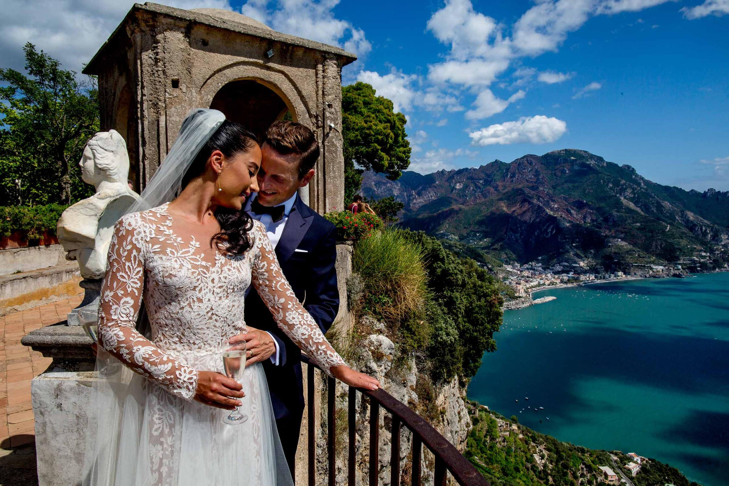 Gorgeous bride and groom portrait at Villa Cimbrone for their Ravello wedding elopement along the Amafi coast in Italy.