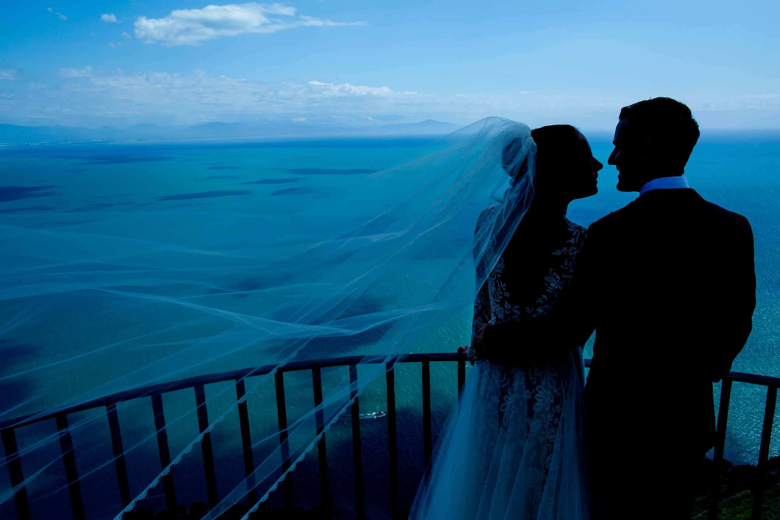 Stunning bride and groom portrait at Villa Cimbrone for their Ravello wedding elopement along the Amafi coast in Italy.
