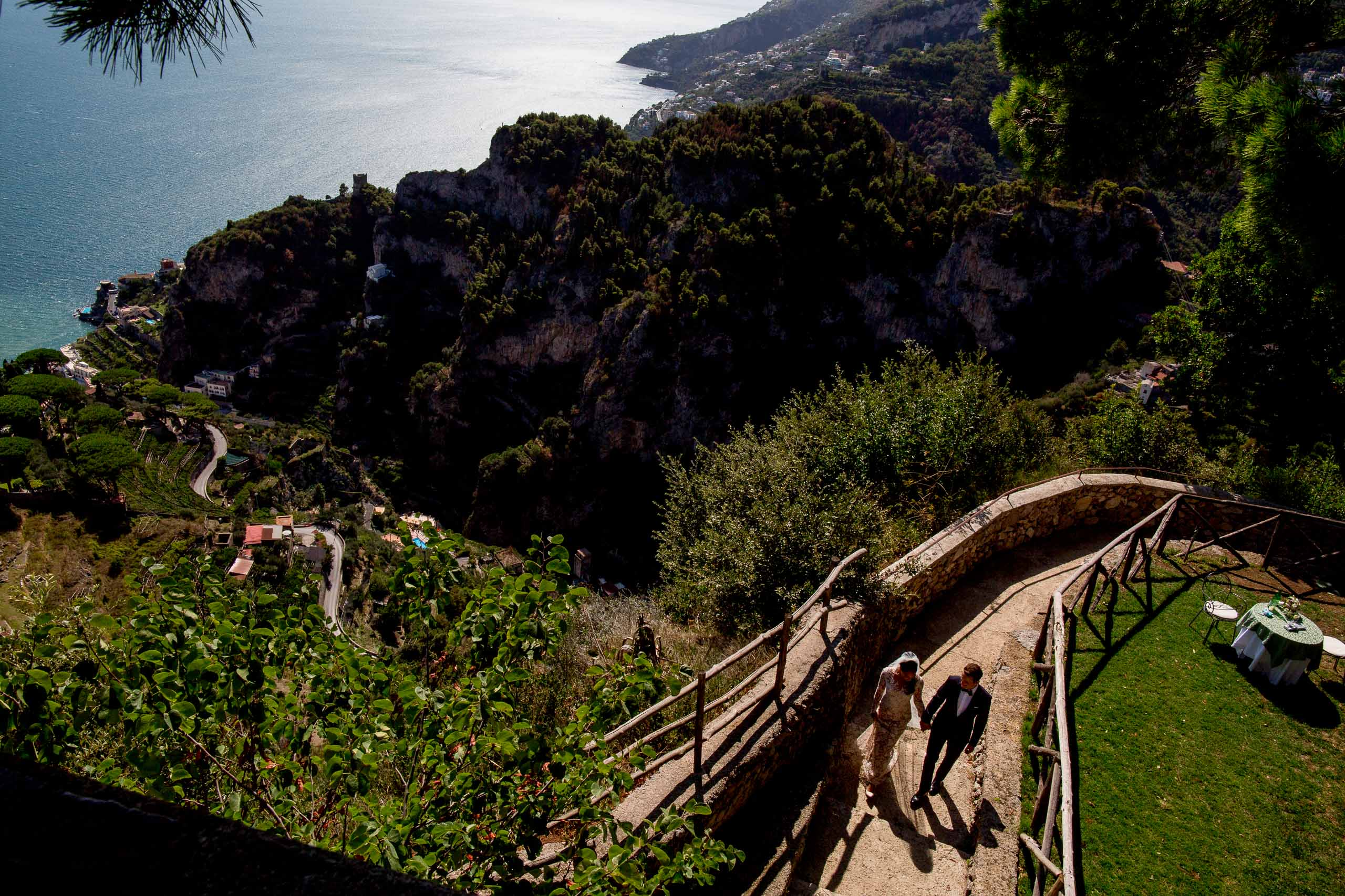 Stunning bride and groom photo at Villa Cimbrone for their Ravello elopement along the Amafi coast in Italy.