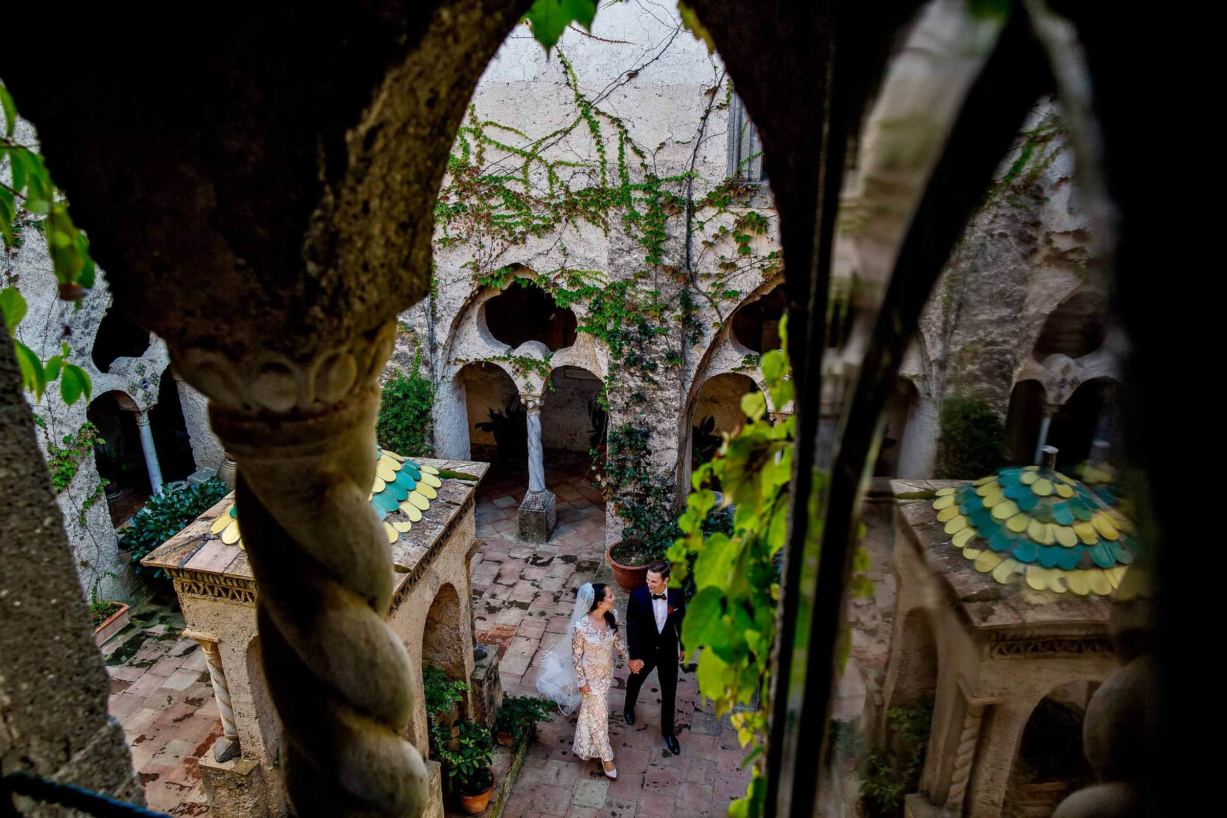Stunning bride and groom photo at Villa Cimbrone for their Ravello wedding elopement along the Amafi coast in Italy.
