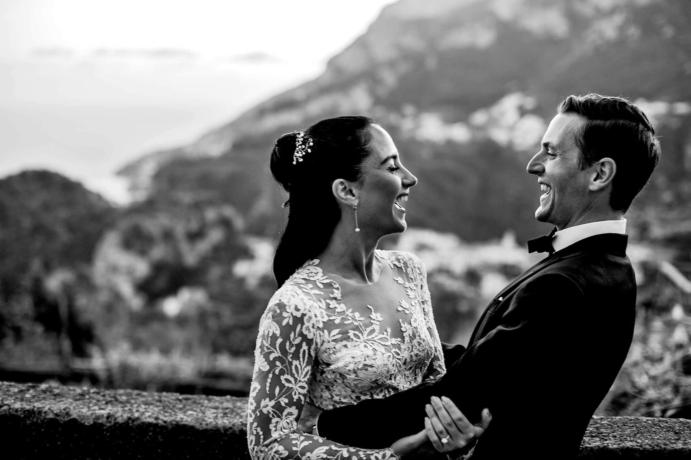 Beautiful bride and groom photo at Villa Cimbrone for their Ravello elopement along the Amalfi coast in Italy.