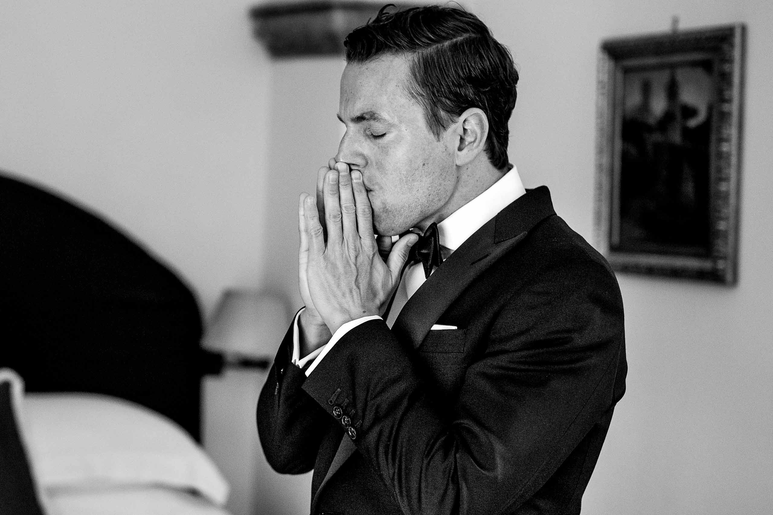 Emotional groom getting ready for his Ravello elopement at Villa Cimbrone along the Amafi Coast.