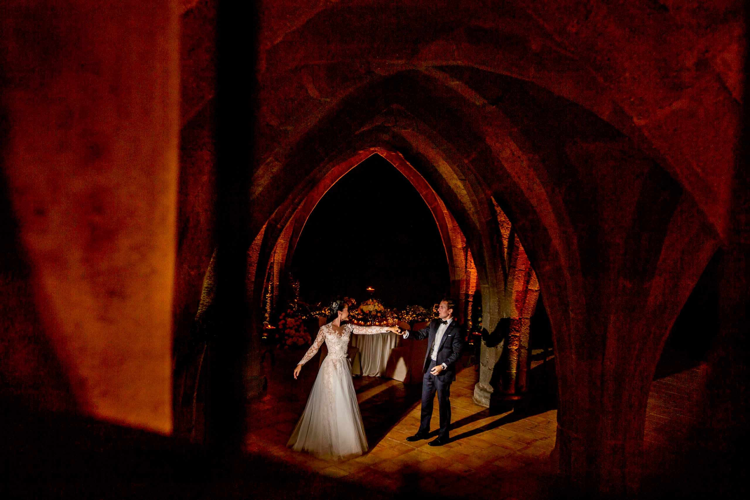Beautiful bride and groom photo at Villa Cimbrone in the crypt for their Ravello wedding elopement along the Amafi coast in Italy.