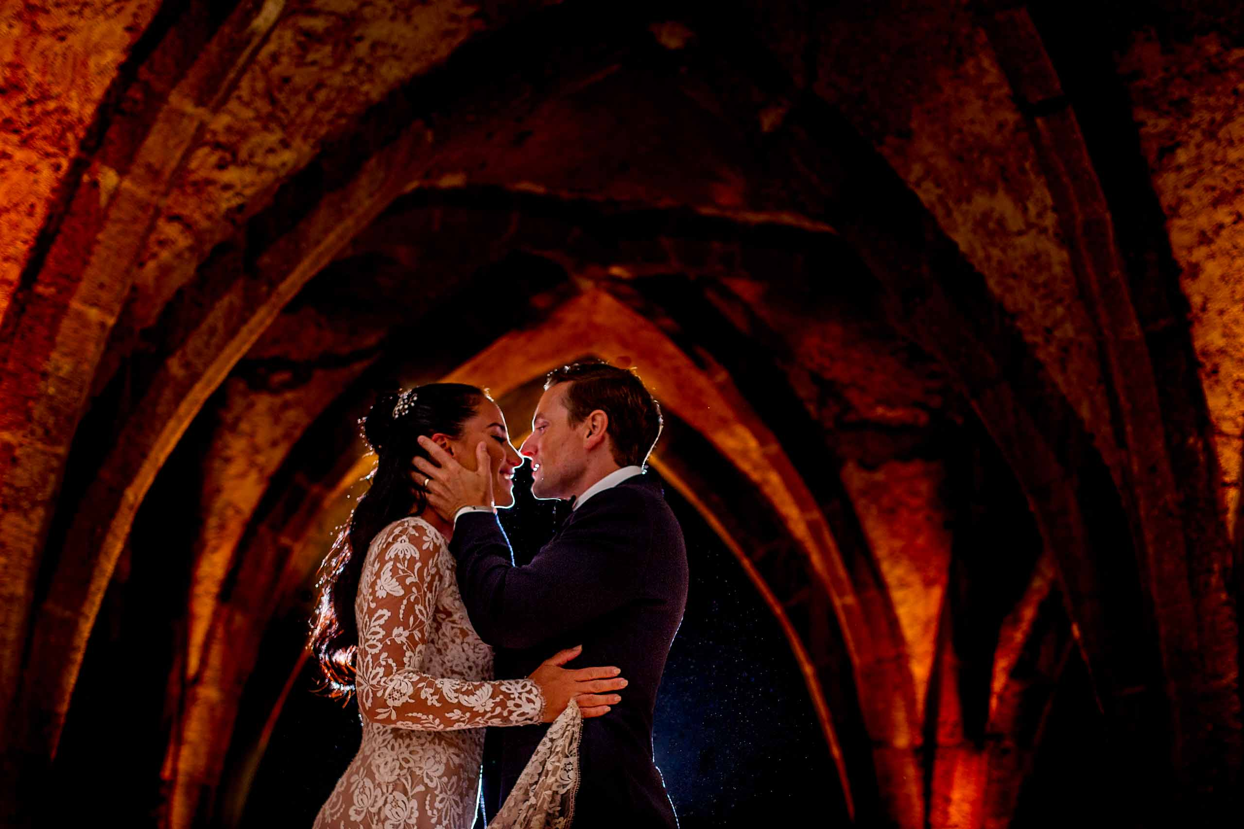 Beautiful bride and groom photo at Villa Cimbrone in the crypt for their Ravello elopement along the Amalfi coast in Italy.