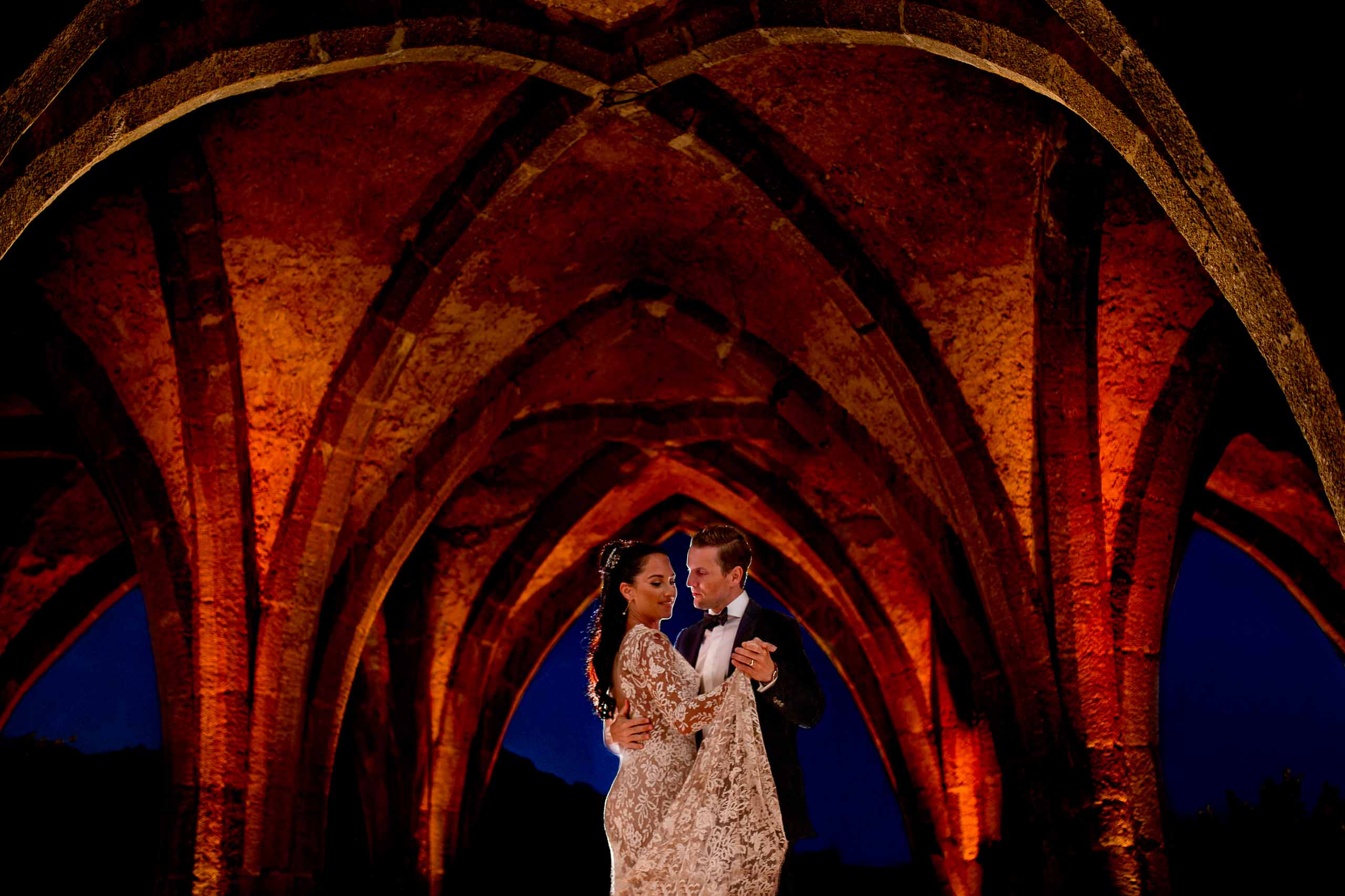 Beautiful bride and groom reception photo at Villa Cimbrone in the crypt for their Ravello wedding elopement along the Amafi coast in Italy.
