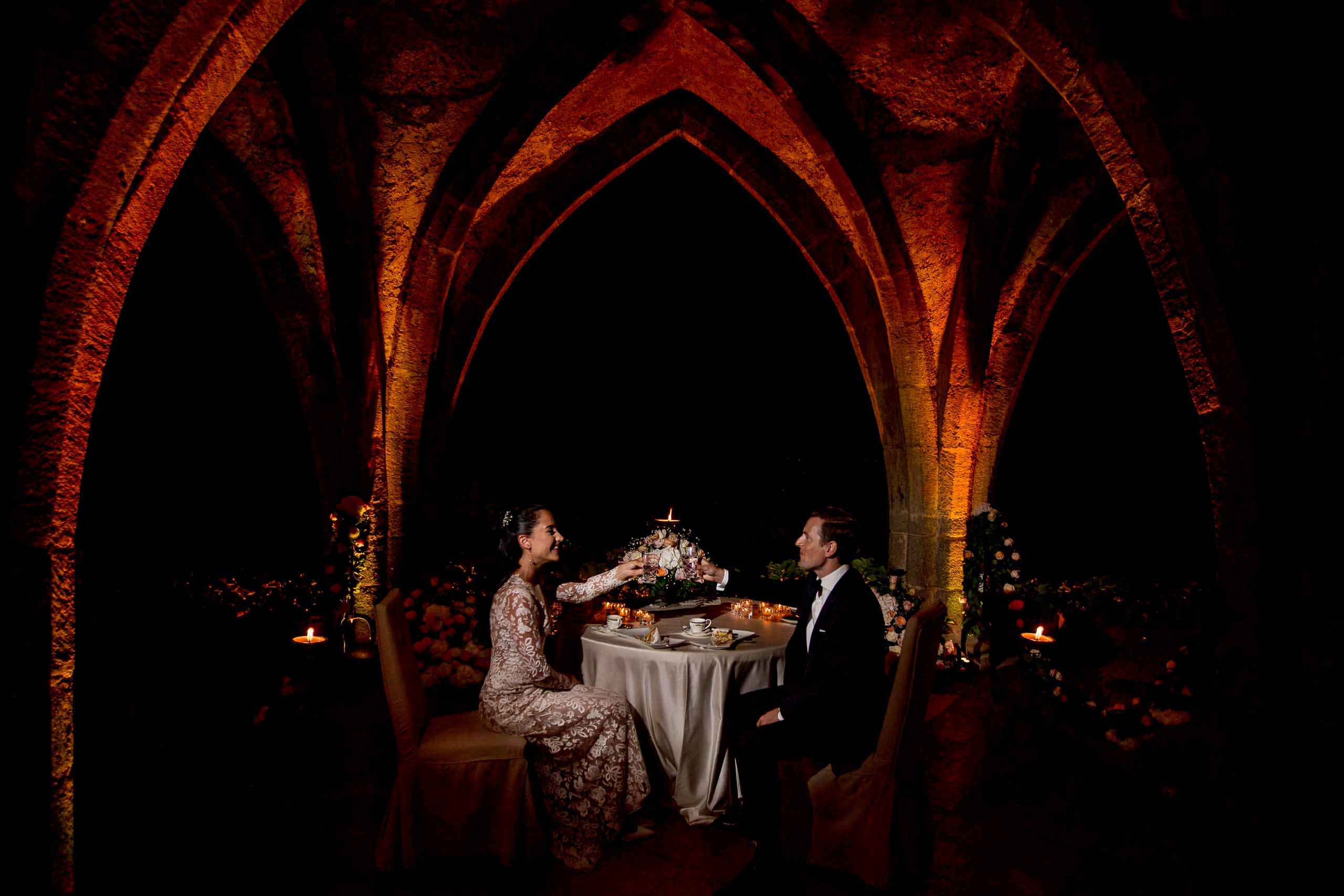 Beautiful bride and groom reception photo at Villa Cimbrone in the crypt for their Ravello elopement along the Amalfi coast in Italy.