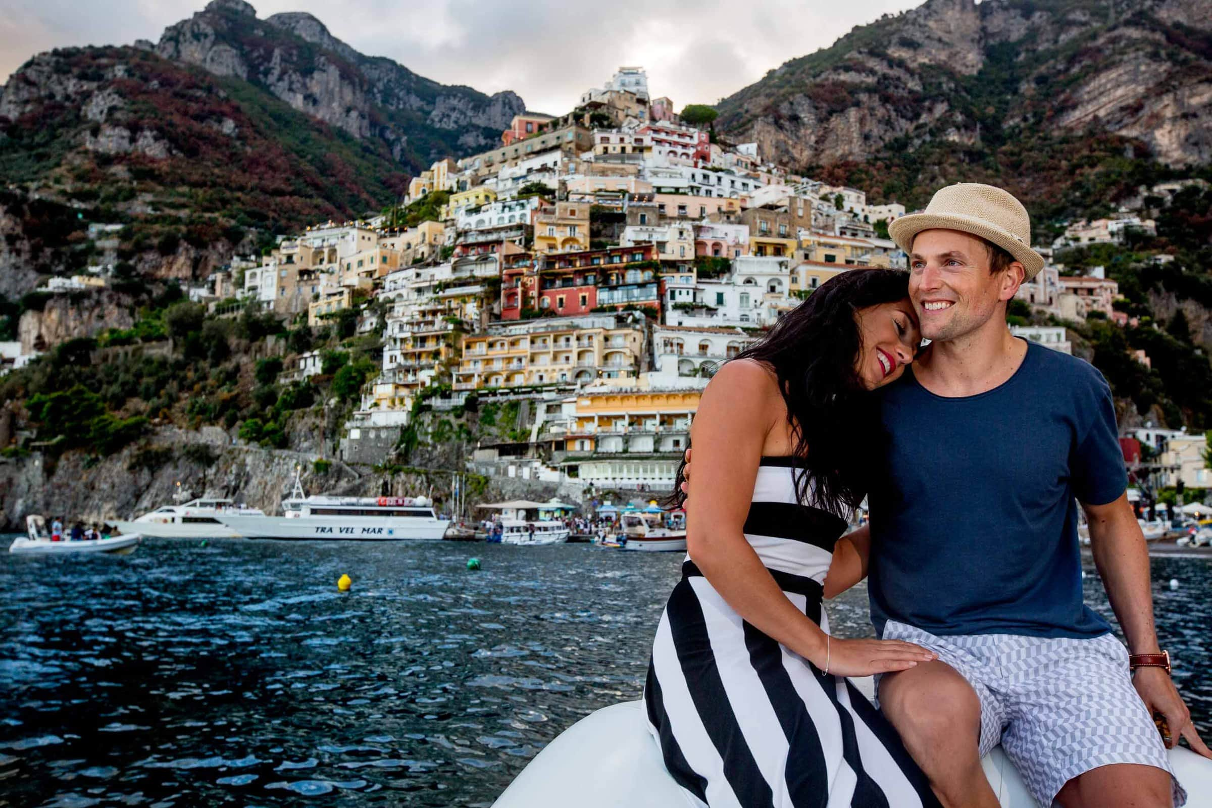Lovely bride and groom boating portrait the day after their Ravello wedding elopement at Villa Cimbrone along the Amafi coast in Italy.