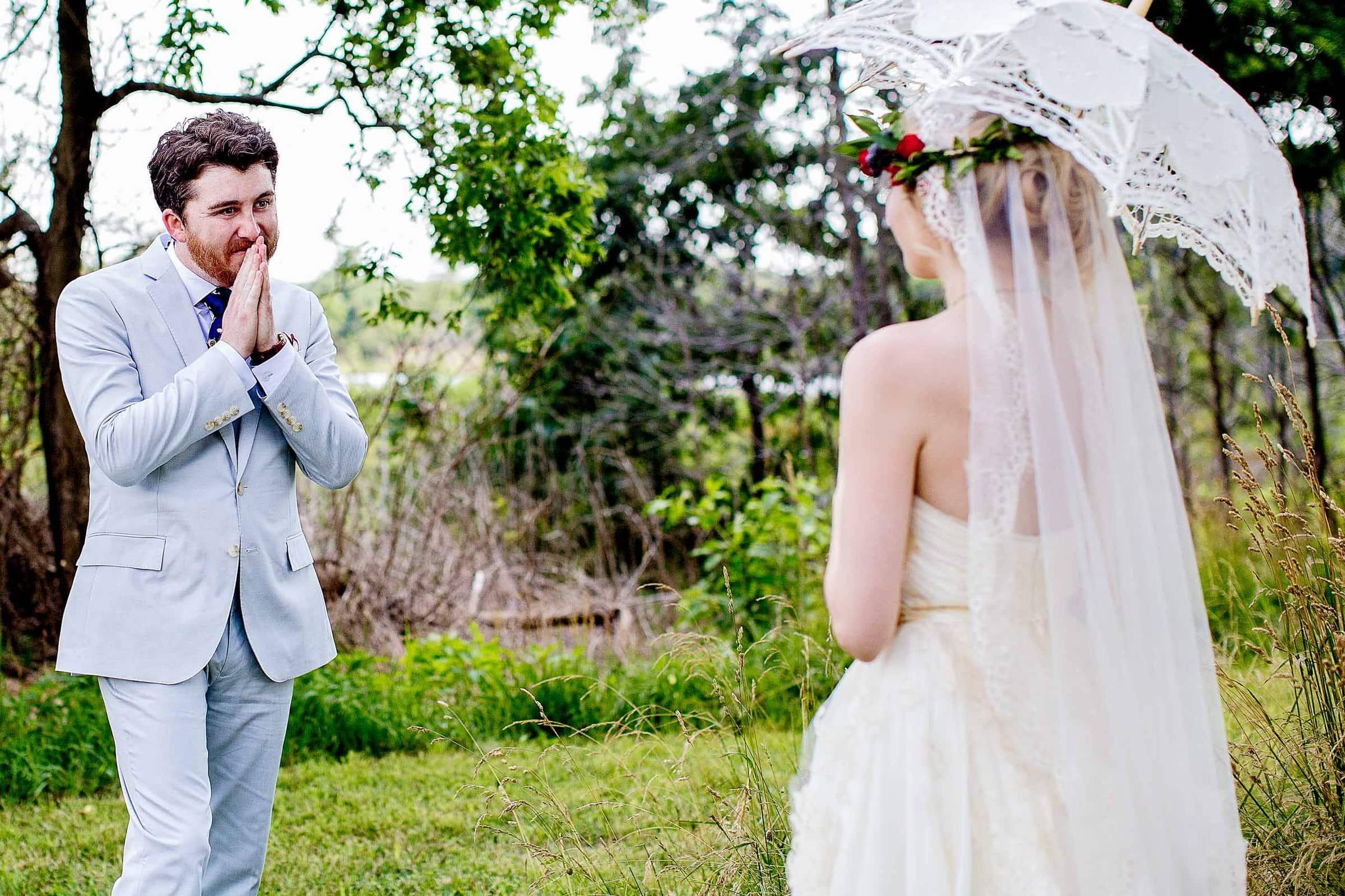 Emotional Fearless Photographers award winning wedding photo taken of Brian seeing his bride before their Chesapeake Bay wedding in Maryland at Wades Point Inn.